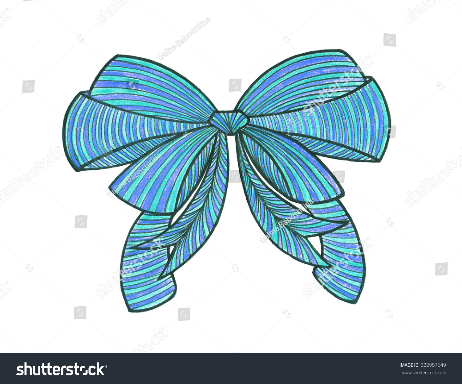 graphic bow drawing color pencils blue stock illustration royalty