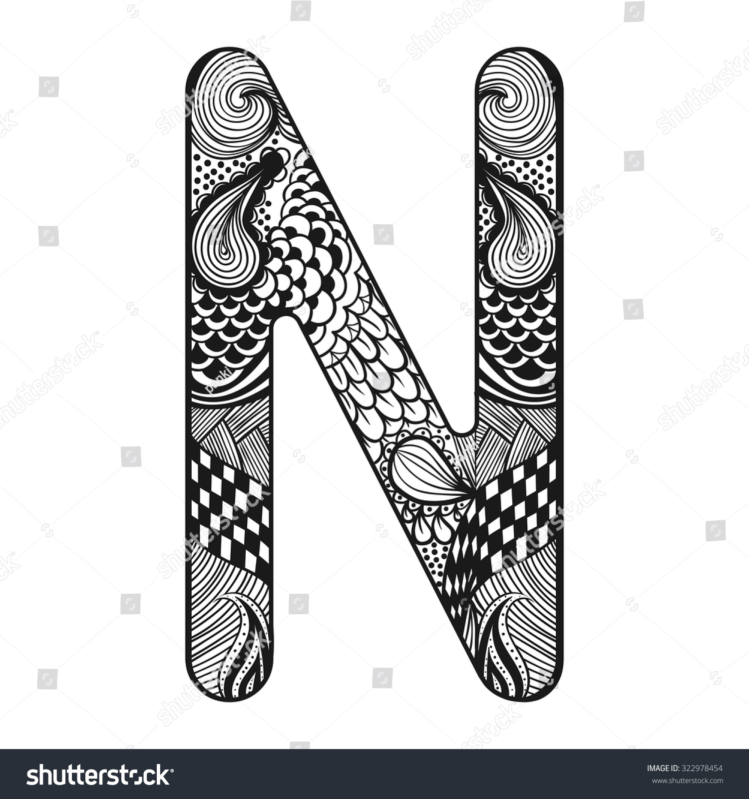 zentangle stylized alphabet lace letter n stock vector 322978454