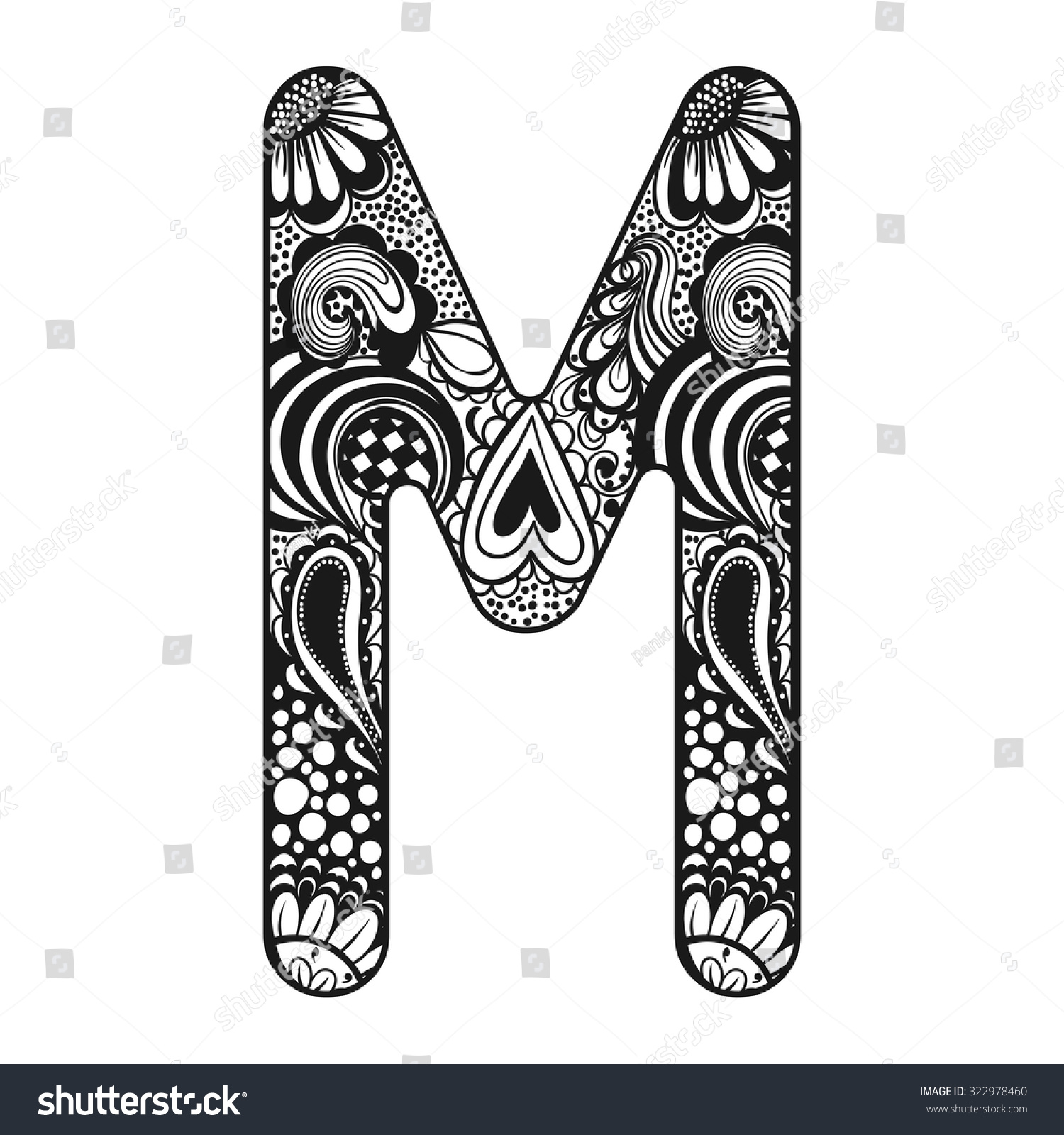 zentangle stylized alphabet lace letter m in doodle style