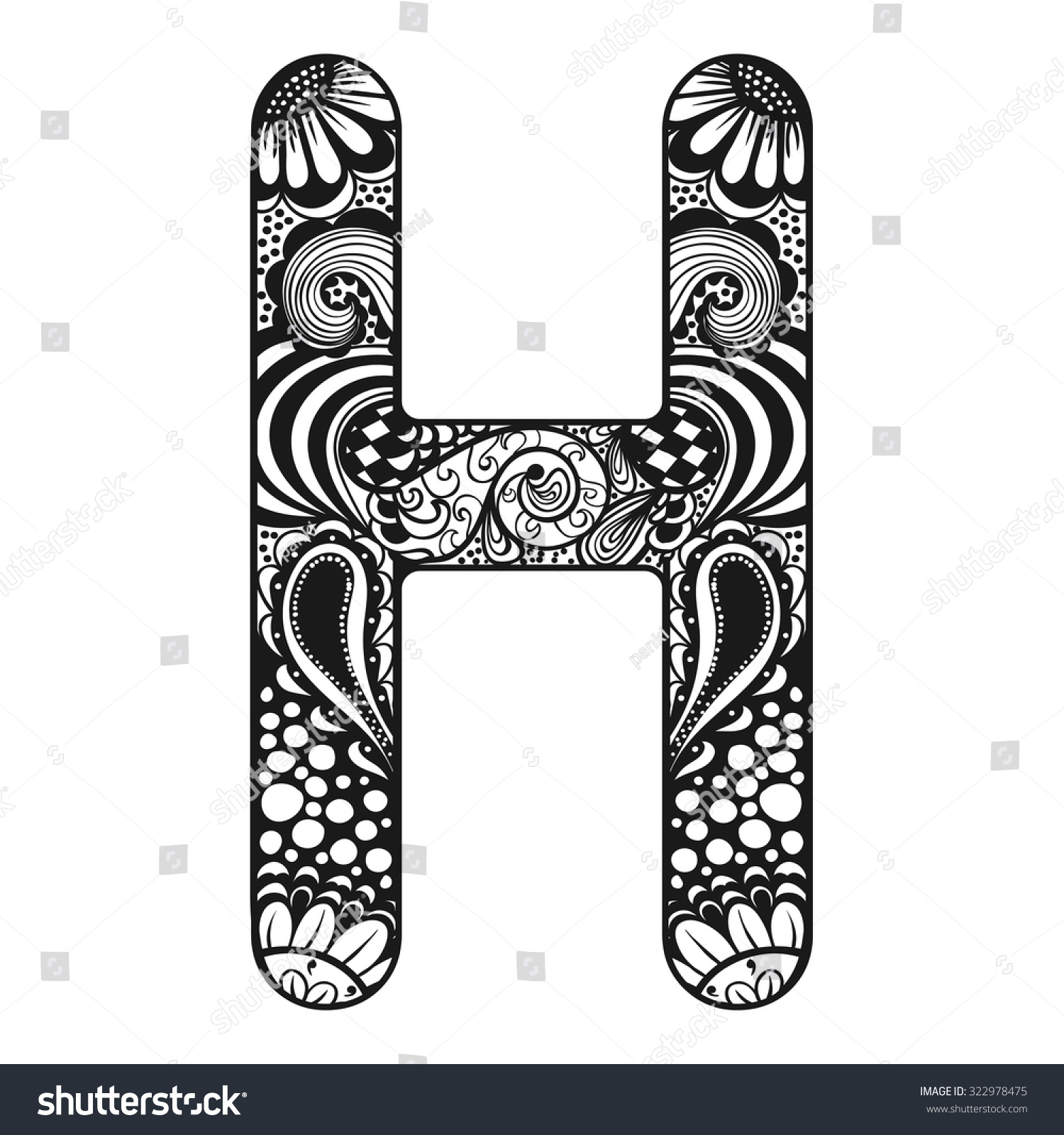 Zentangle Stylized Alphabet Lace
