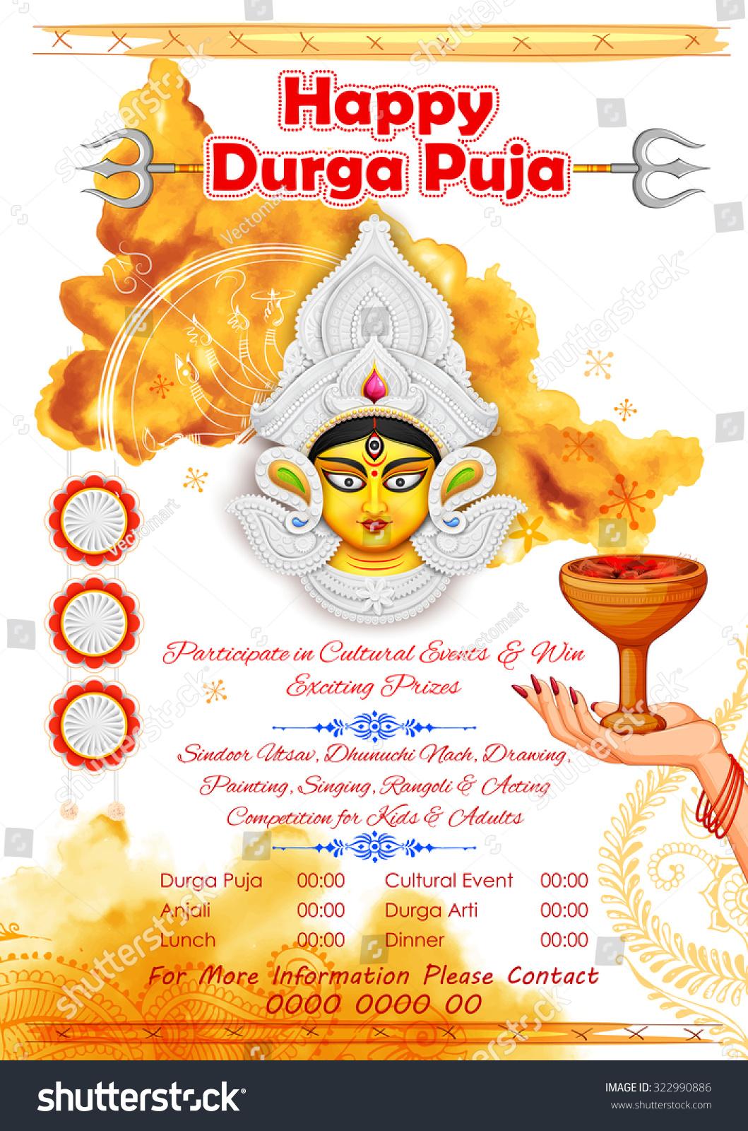 Illustration Goddess Durga Happy Durga Puja Stock Vector 322990886