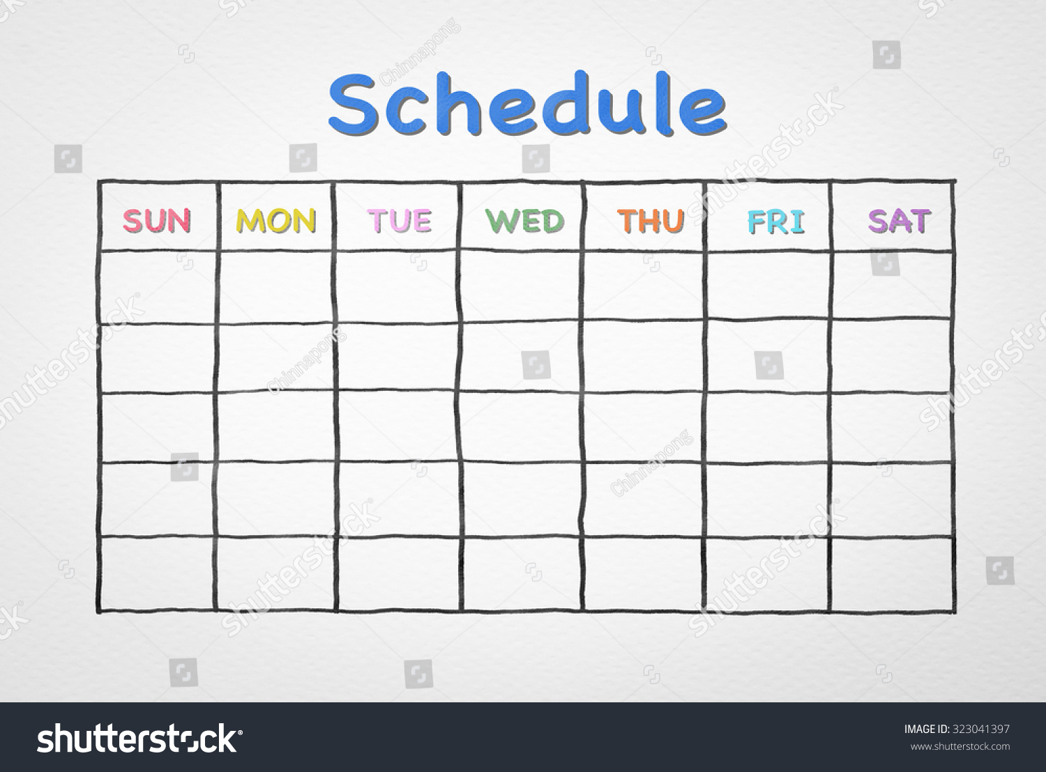 hand pen doodle sketch drawing blank stock illustration hand pen doodle sketch drawing of blank monthly grid timetable schedule on white watercolor paper background