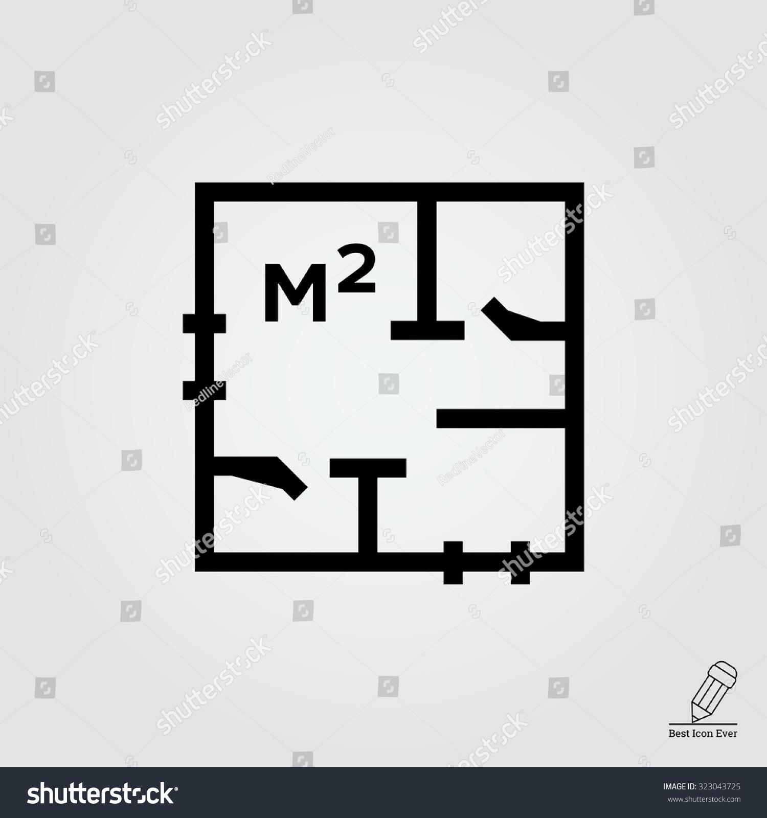 Icon Apartment Scheme Square Meter Designation Stock Vector Royalty