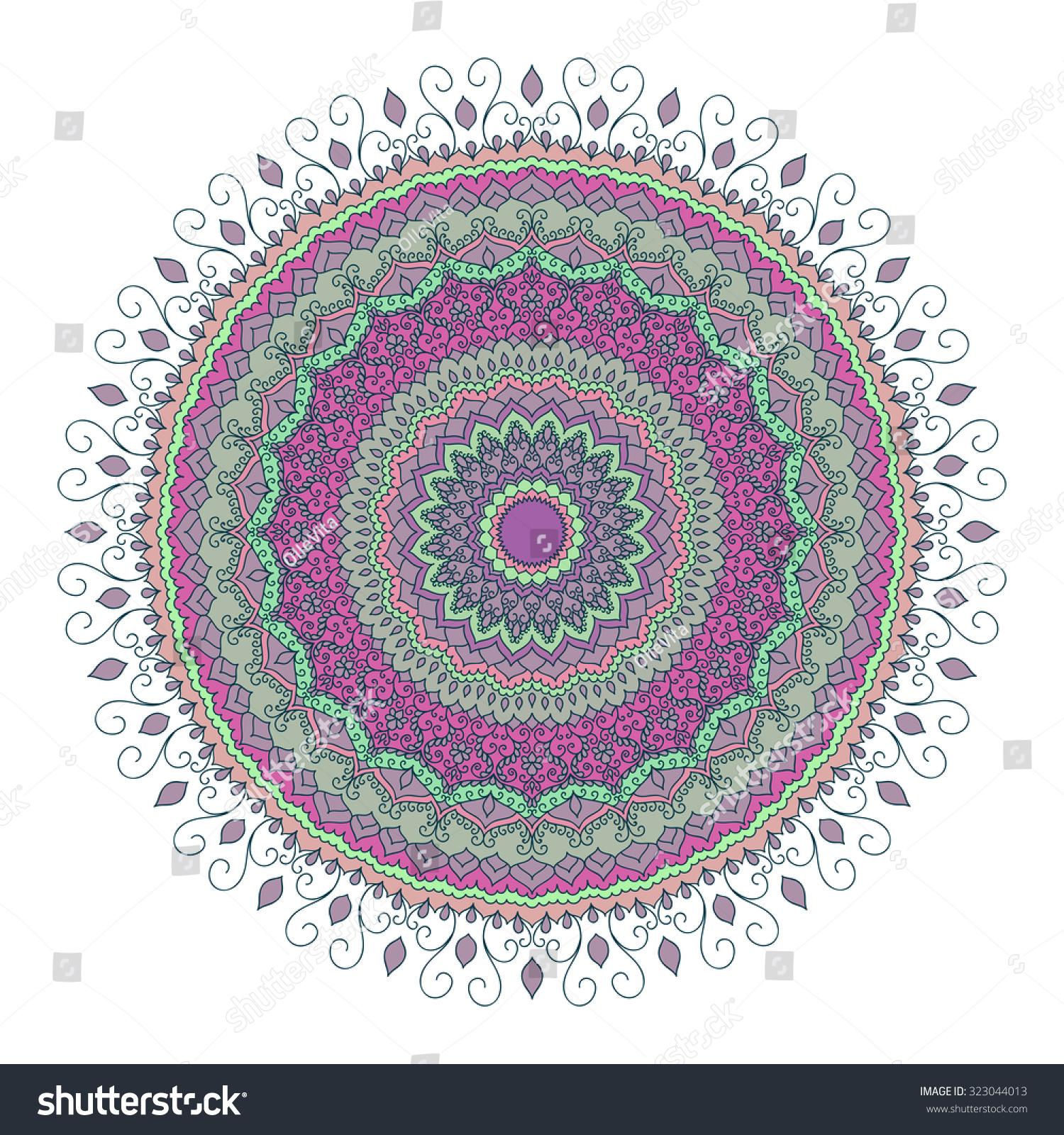 Isolated Mandala Pattern Vintage Ethnic Background Stock Vector