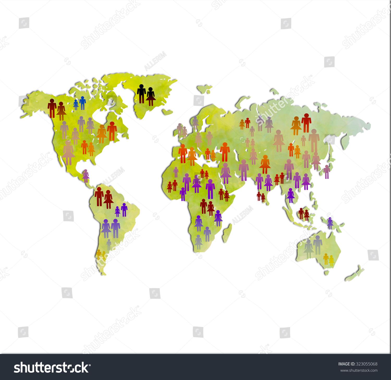 World Map Peoples Icons World Population Stock Illustration