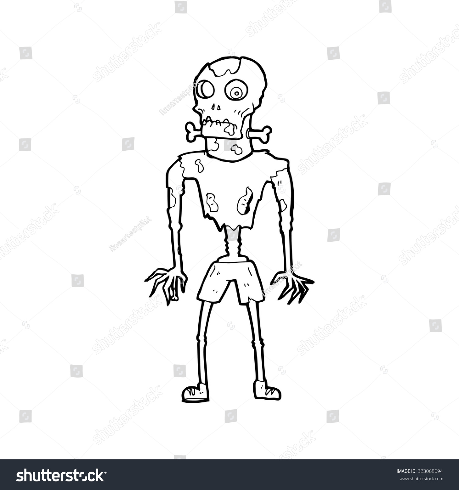 Uncategorized Simple Zombie Drawing simple black white line drawing cartoon stock vector 323068694 and zombie