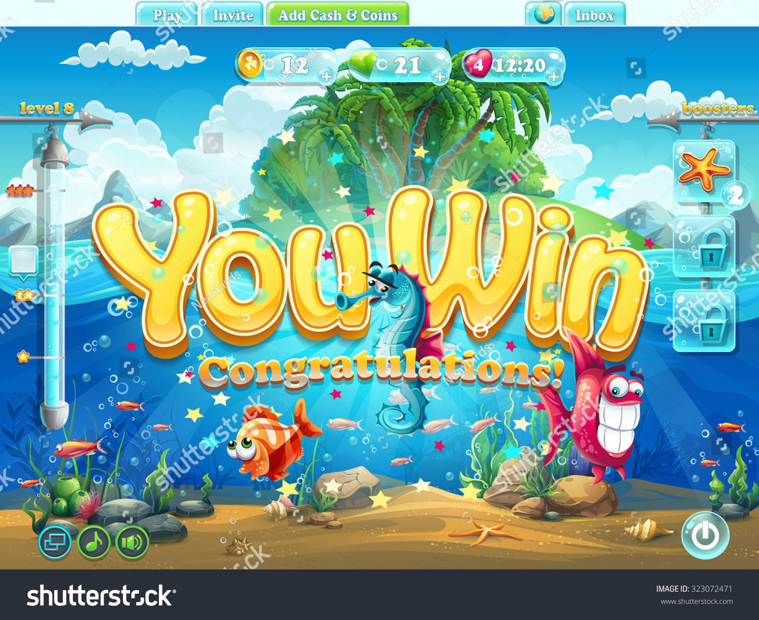 Fish world example screen you win stock vector 323072471 for Wsbtv fish and game