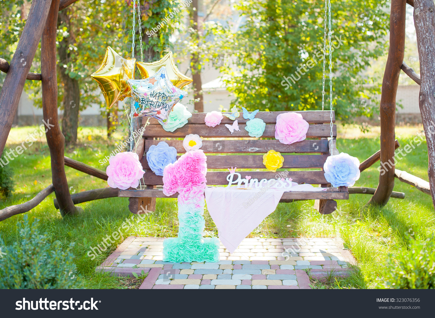 Birthday Party Decorations Ballons Big Figure Stock Photo Edit Now 323076356