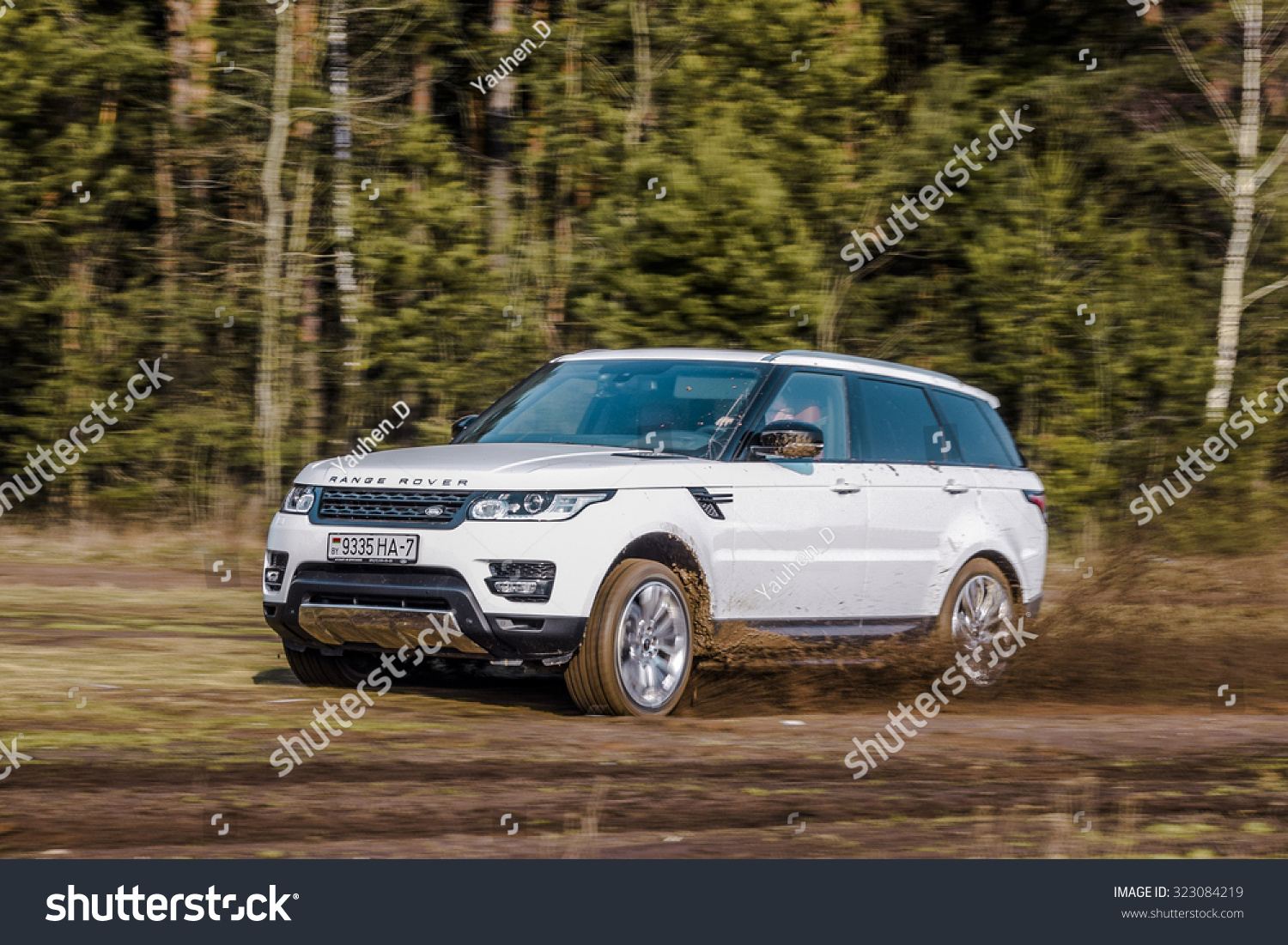 MINSK BELARUS APRIL 6 2014 2015 model year Range Rover Sport 3.0 Supercharged at the test-drive British sport SUV is powered by 3.0 liter V6 340 hp & 450 Nm