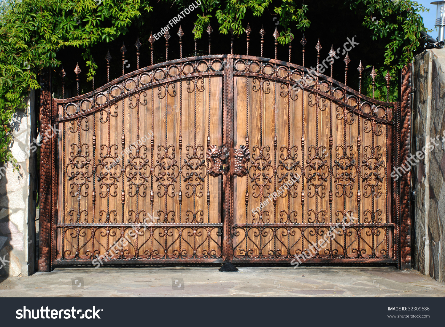 Ornament Forged Big Iron Garden Gate Stock Photo (Edit Now) 32309686 ...