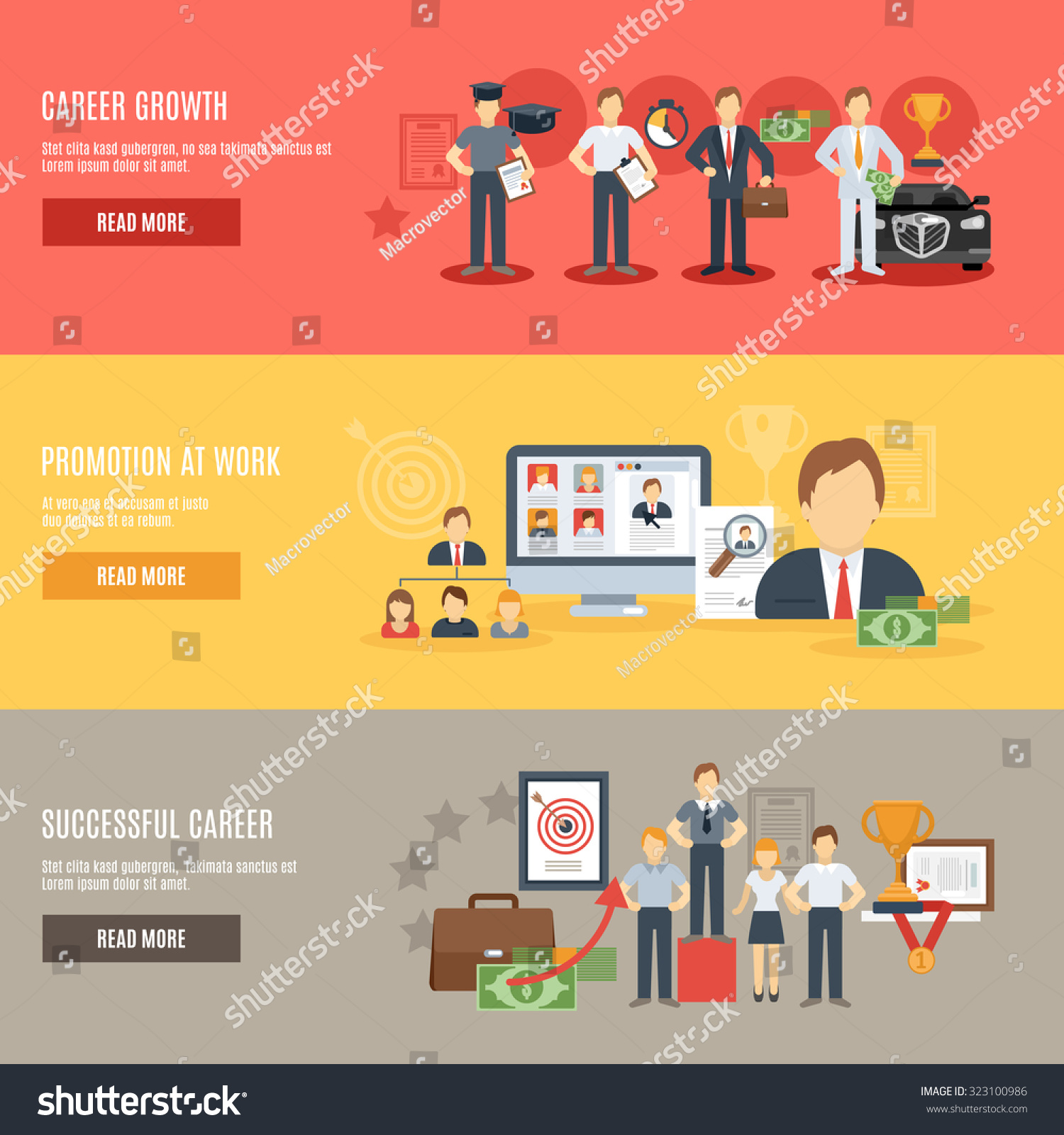 career growth horizontal banner set promotion stock illustration career growth horizontal banner set promotion at work flat elements isolated illustration