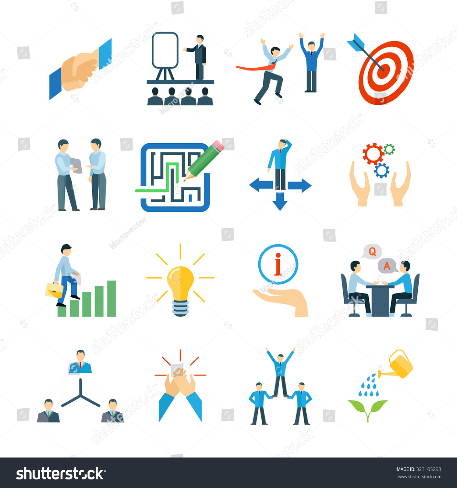 mentoring and personal skills development icons flat set isolated save to a lightbox