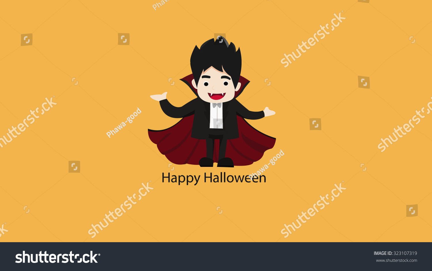 dracula on orange background happy halloween stock illustration