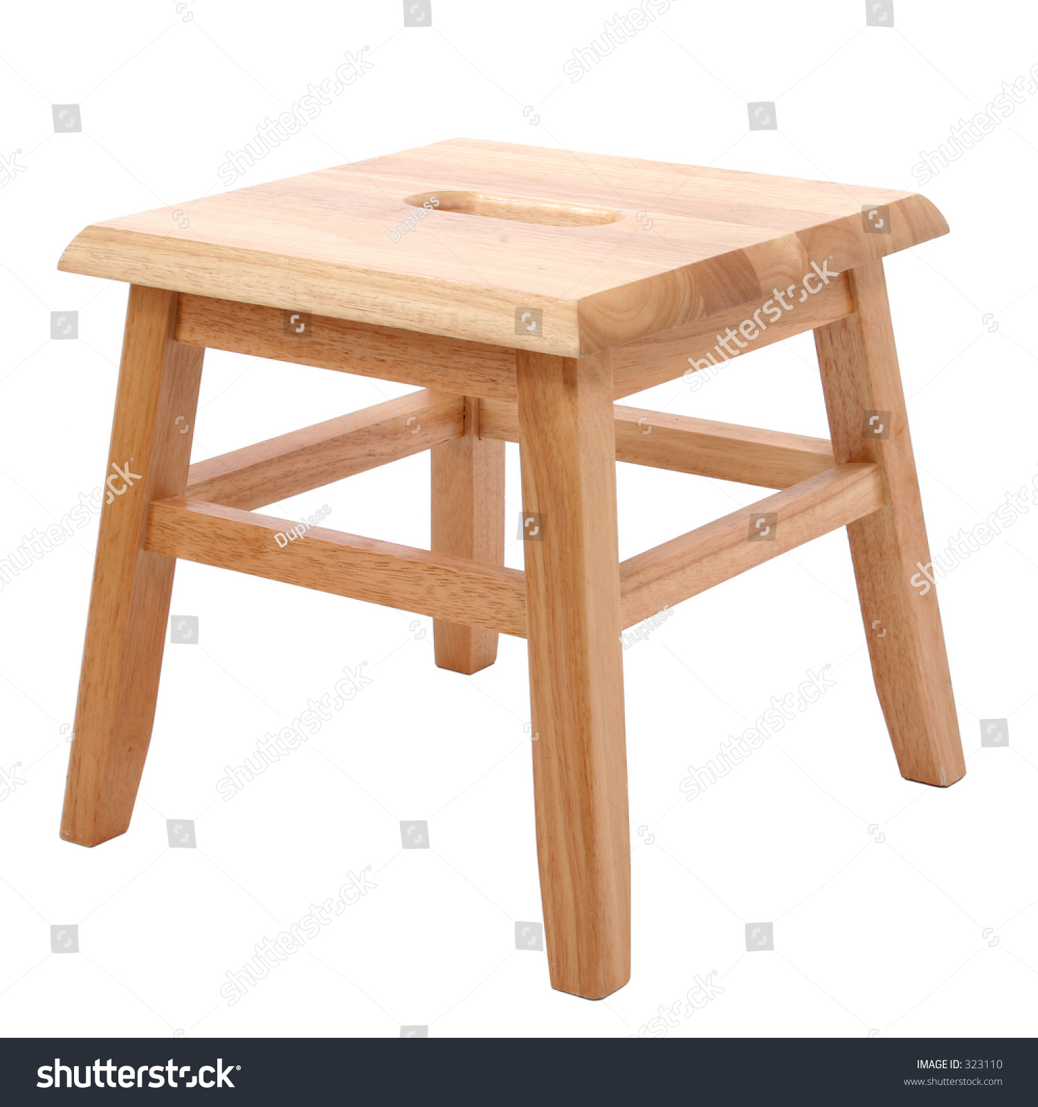Small Four Legged Wooden Step Stool Over White Stock