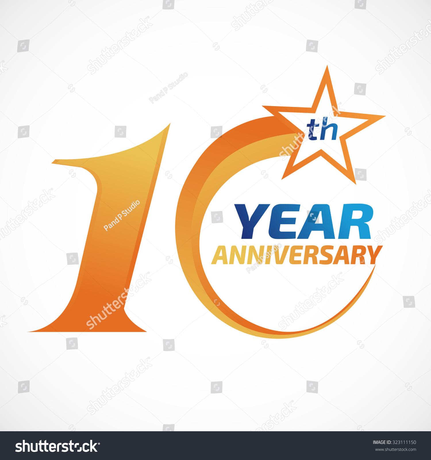 10 years anniversary template logo のベクター画像素材 ロイヤリティ