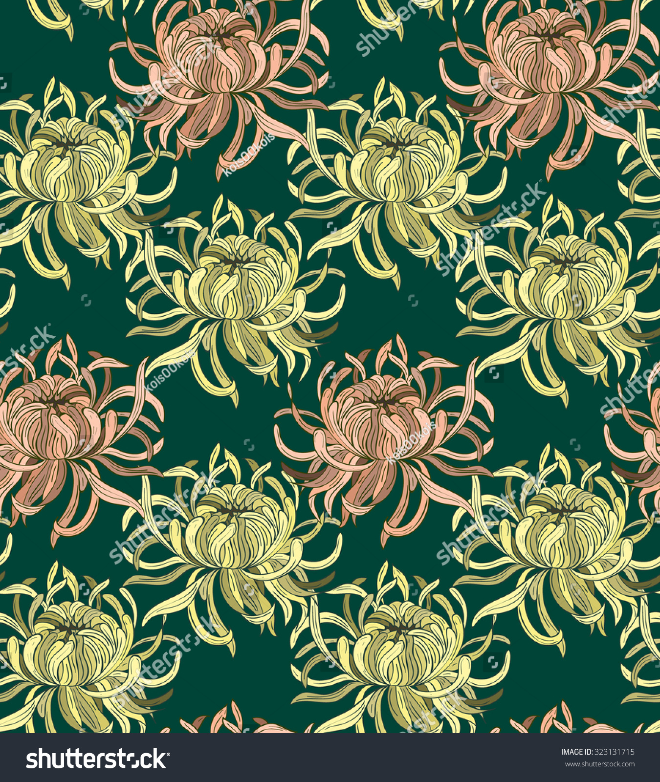 Pink floral seamless vector background floral hrysanthemum seamless - Chrysanthemum Flower Seamless Pattern On Blue Green Background Cloth Rug Design Pink