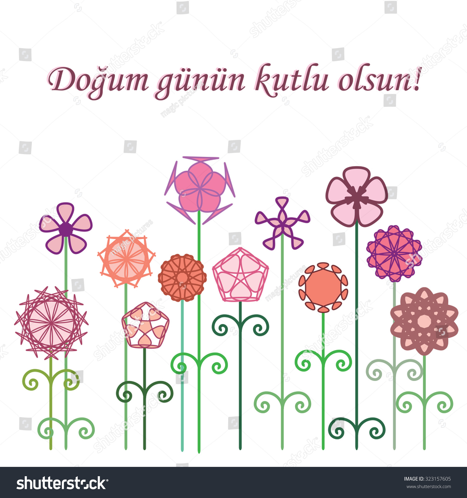 Dogum Gunun Kutlu Olsun Turkish Translation Stock Vector (Royalty
