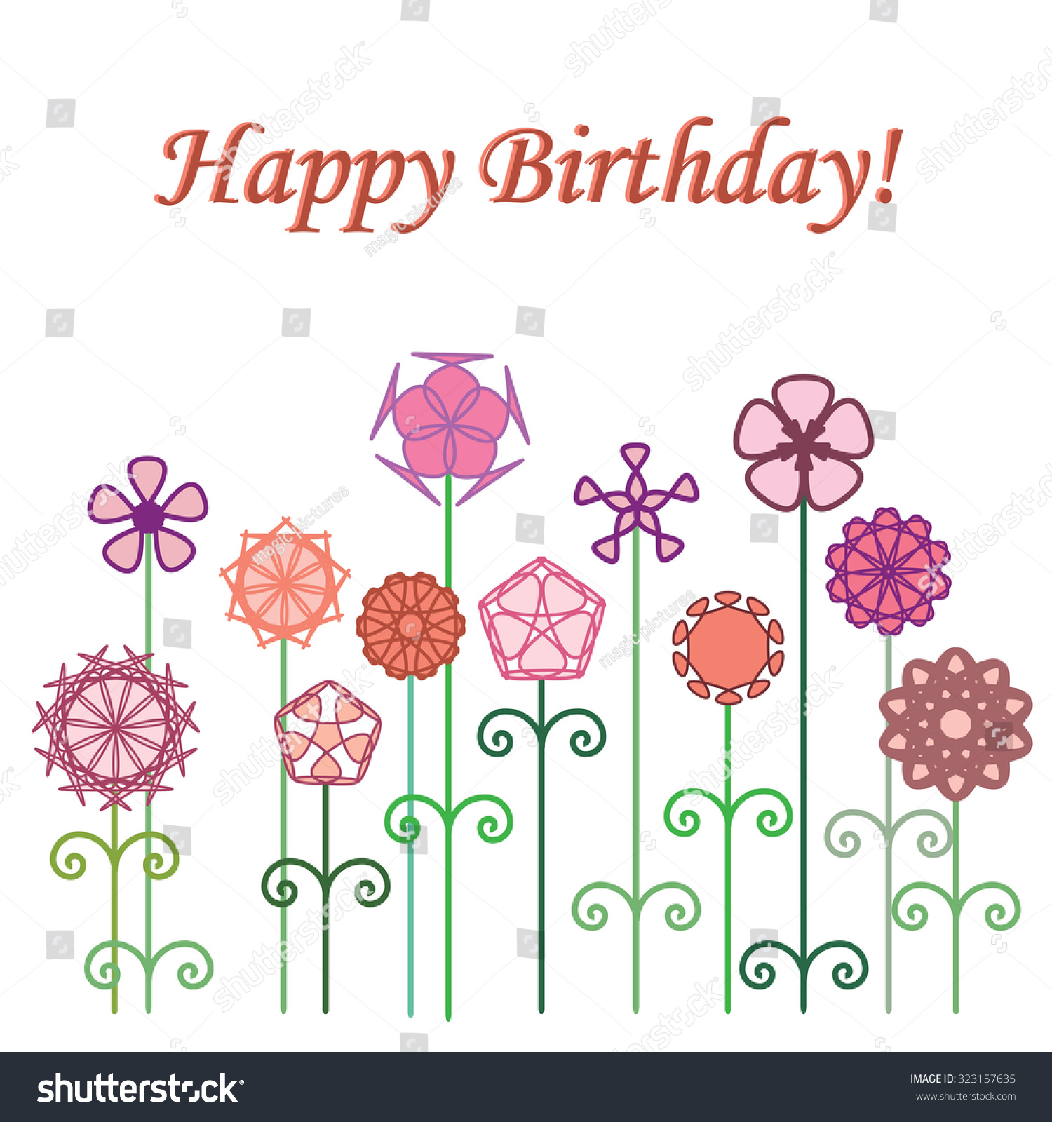 Happy Birthday Modern Flowers Design Greeting Stock Vector Royalty