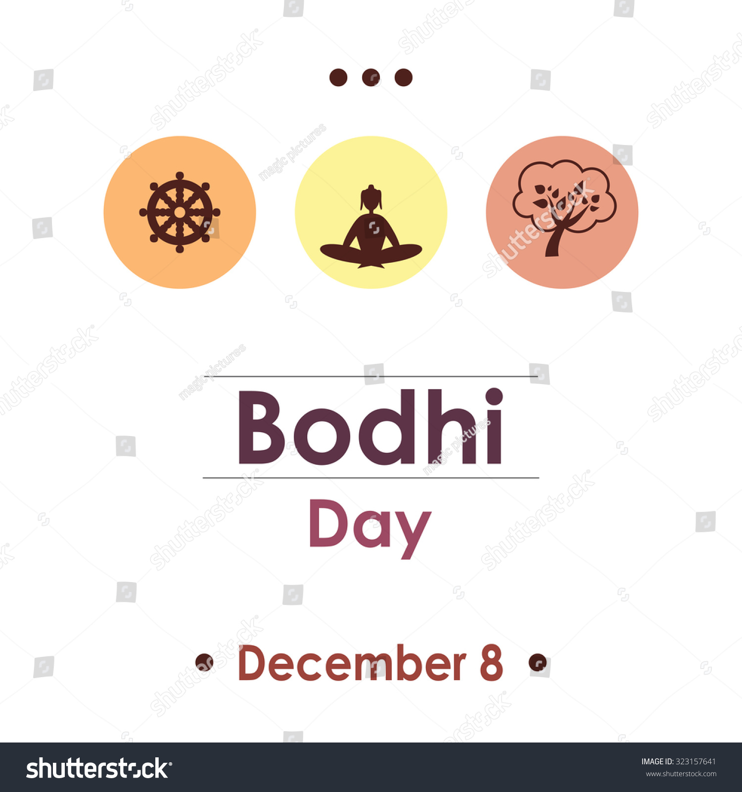 Bodhi Day Dotted Greeting Card Design Stock Vector Royalty Free