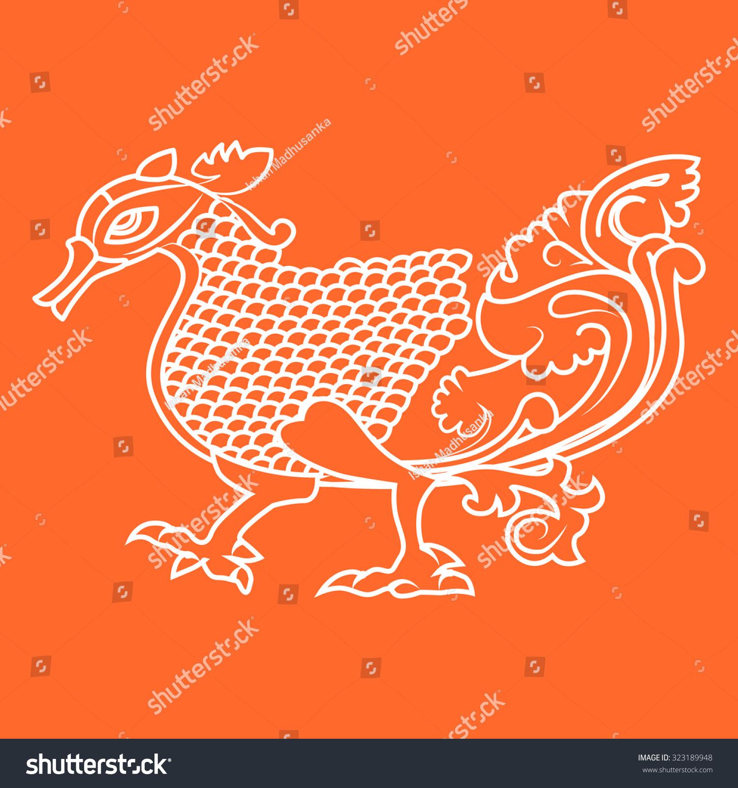 Minimal vector illustration vintage dragon sri stock for Minimal art vector