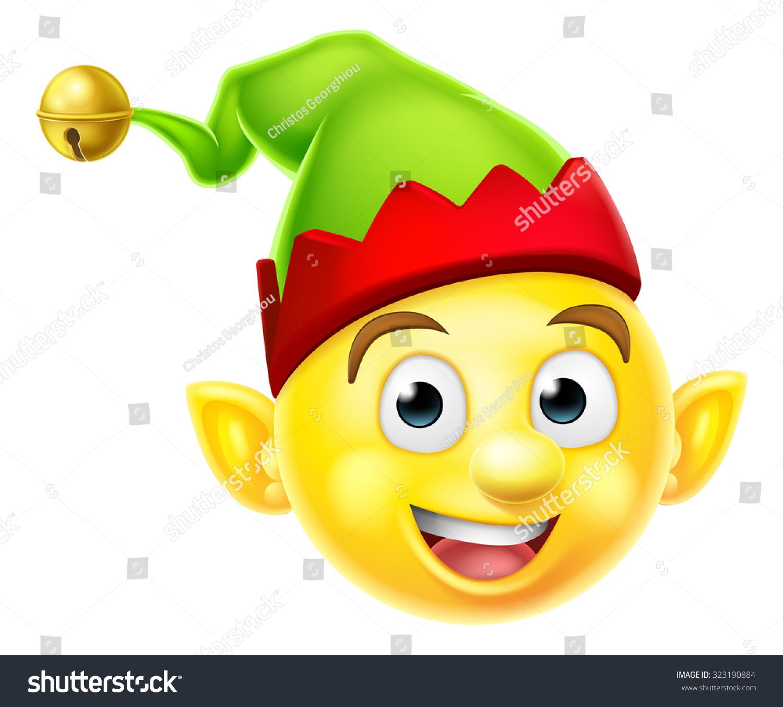 cute christmas elf santas helper emoticon stock vector Santa Claus E Holiday Emoji