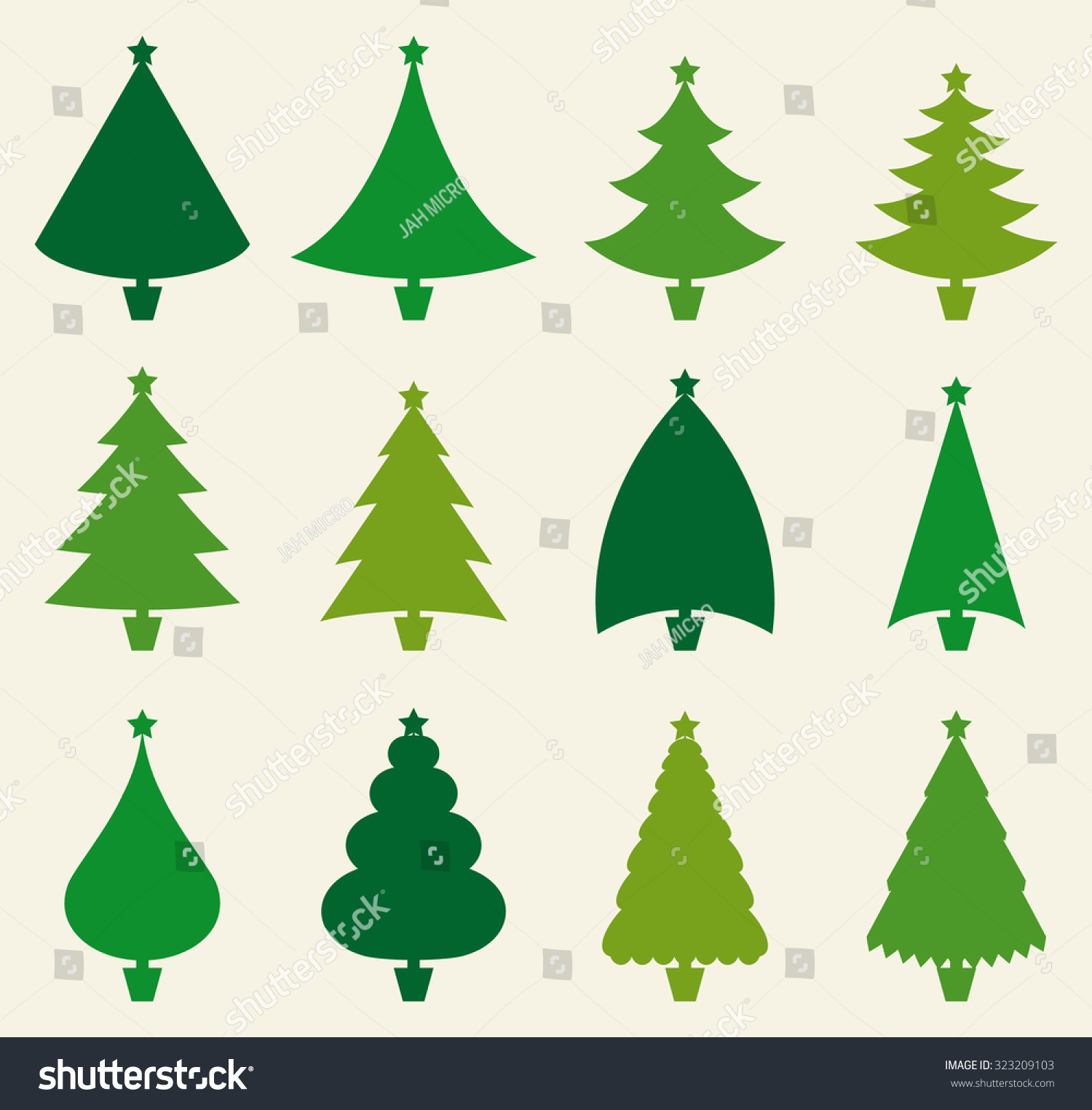Christmas Tree Green Color Set Stock Vector 323209103 - Shutterstock