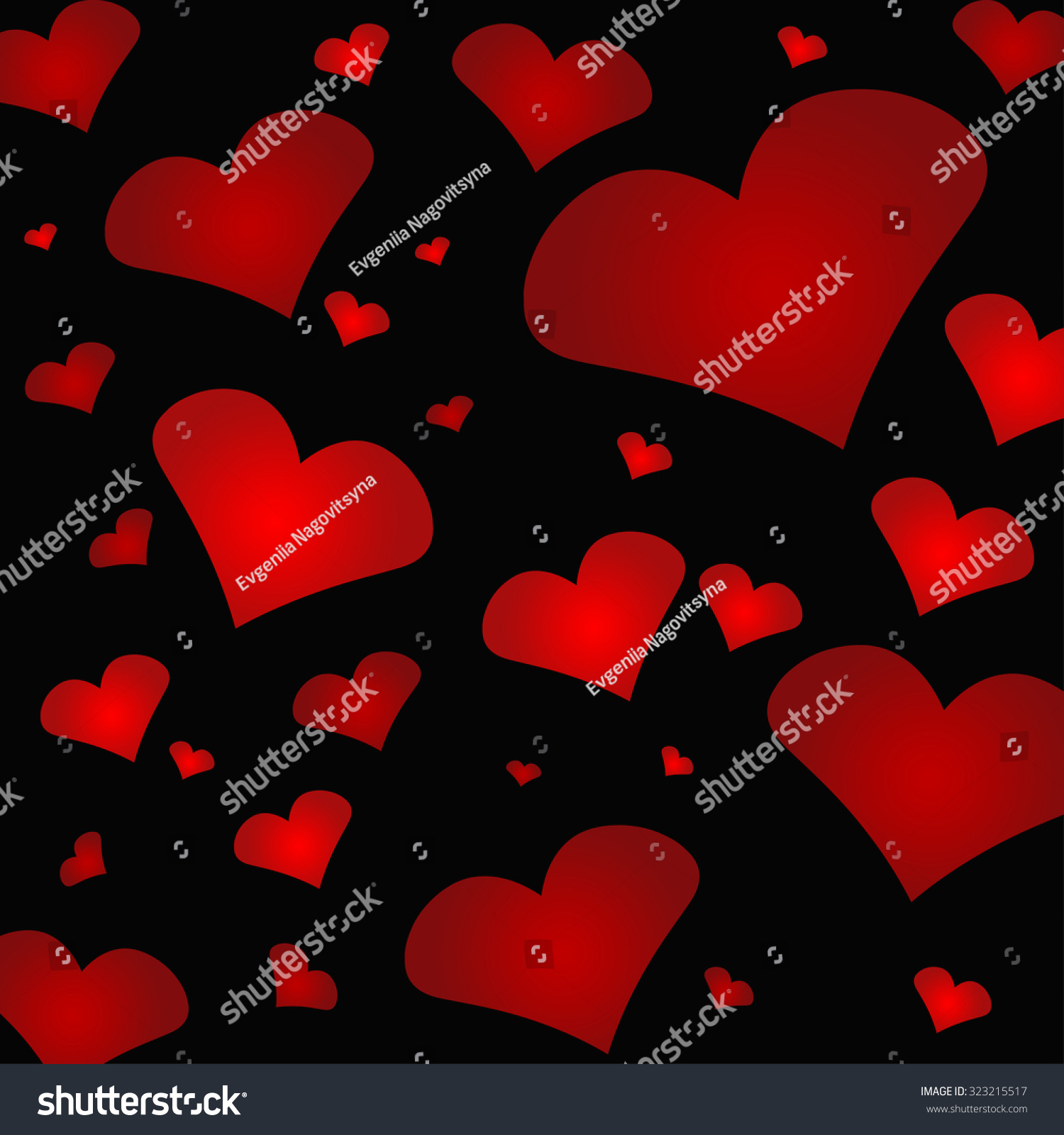 Many Different Hearts Vector Print With Many Hearts Of Different