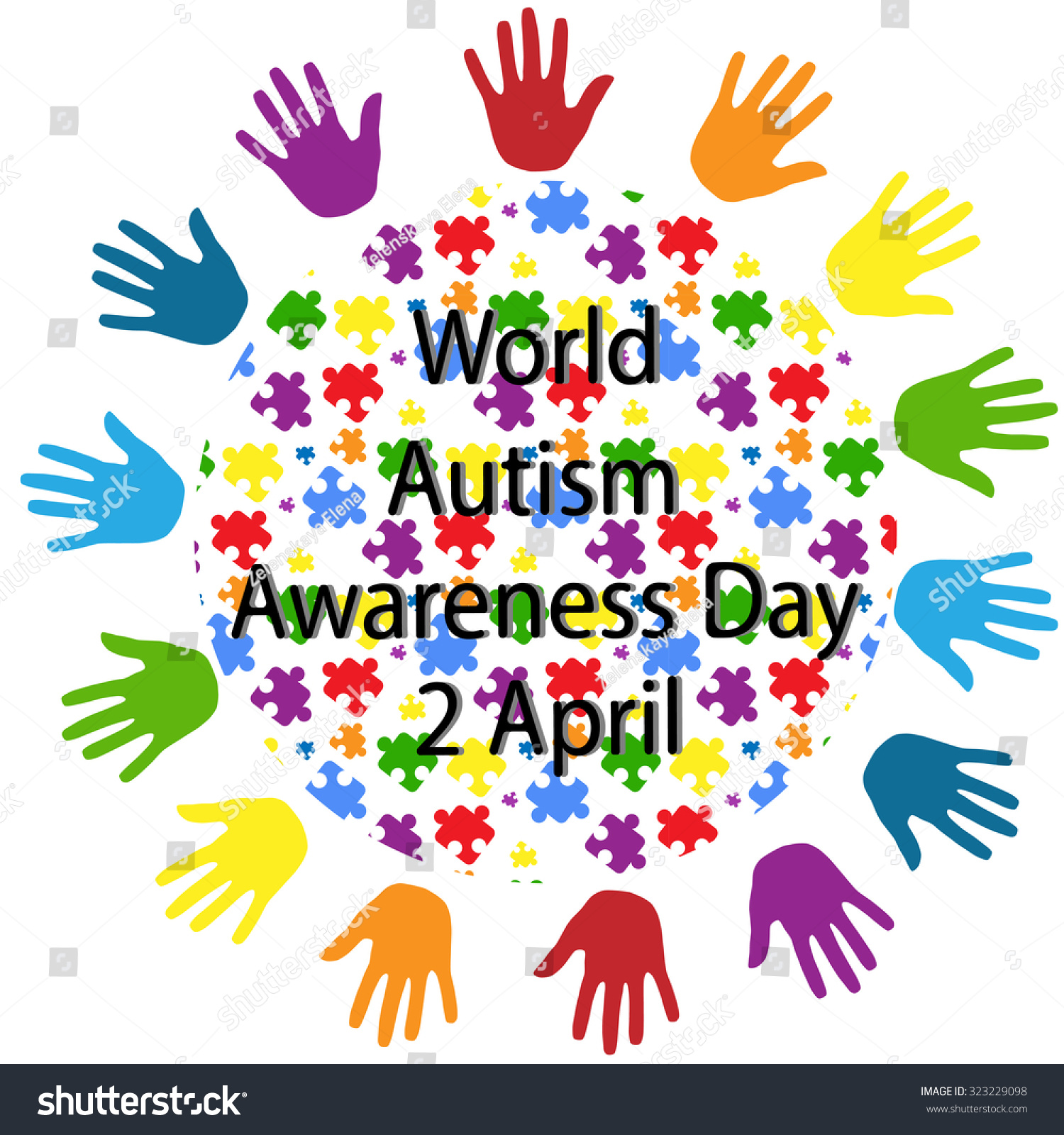 Black Lettering World Autism Awareness Day Stock Vector 323229098 ...