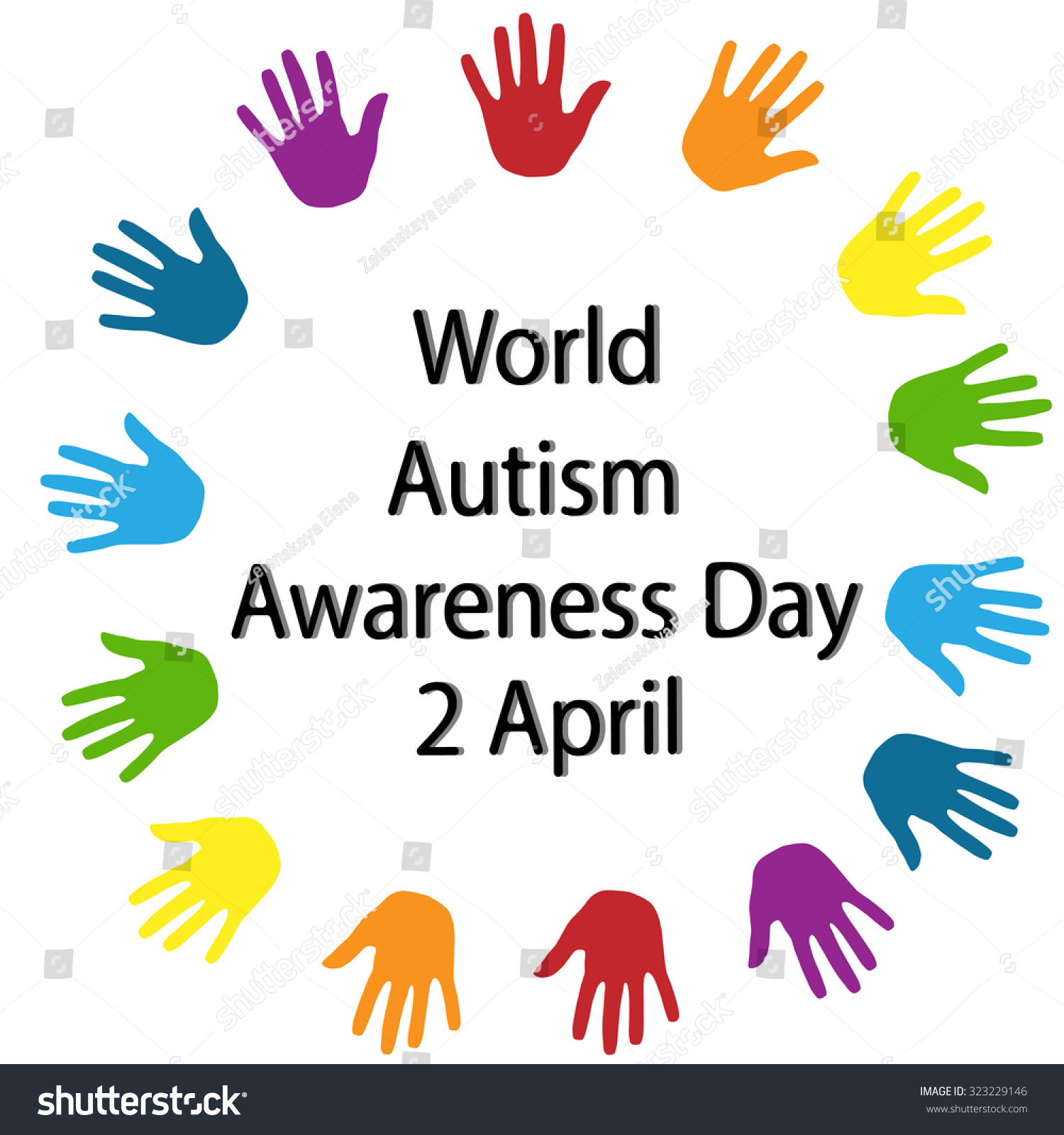 Black lettering world autism awareness day stock vector 323229146 black lettering world autism awareness day and colorful palms around on white background symbol of biocorpaavc