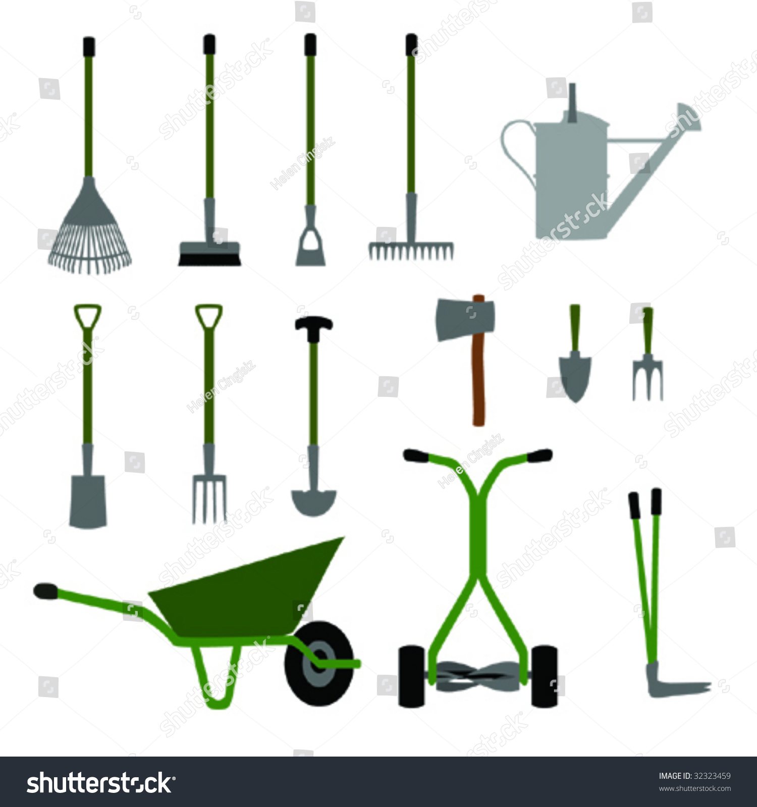 Gardening tools and equipment set no 1 stock vector for Gardening tools list and their uses