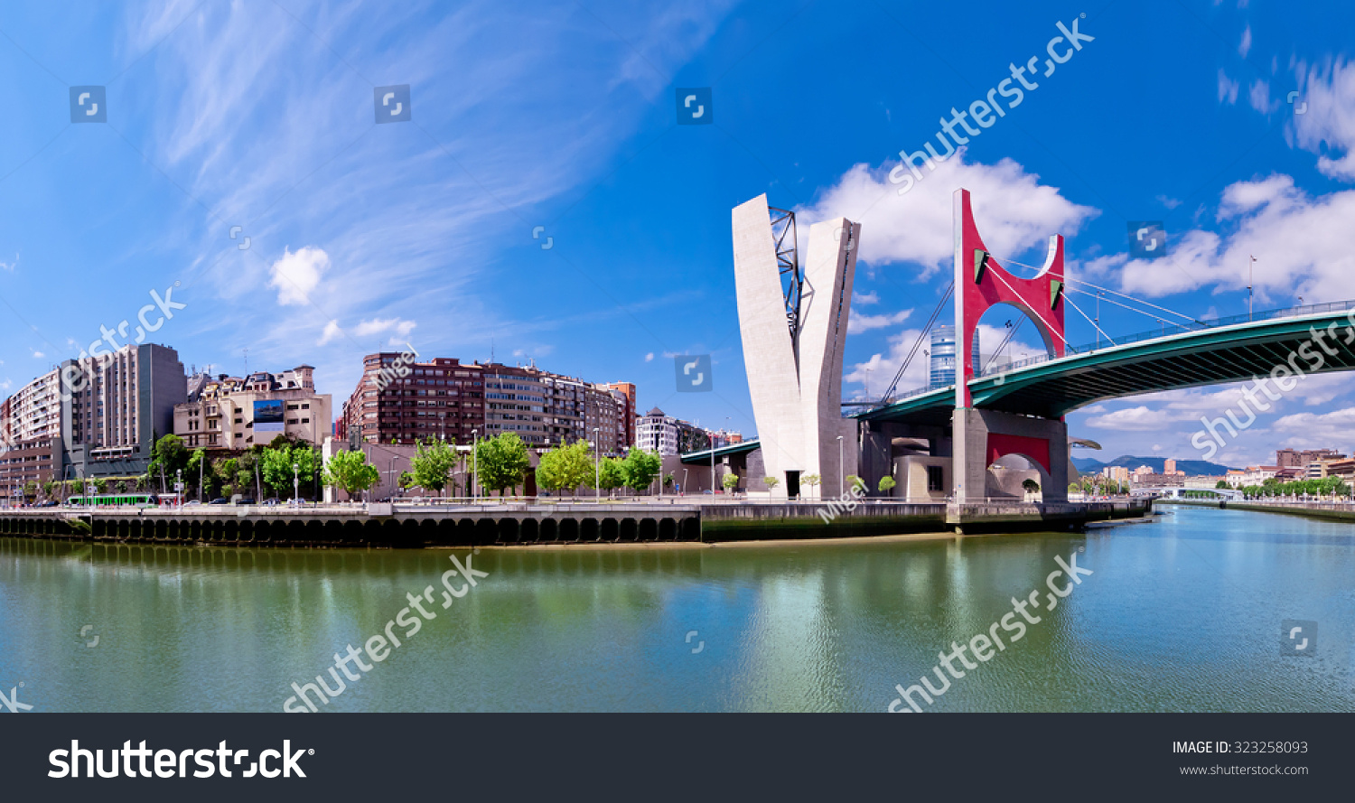 view of embankment of river Nervion O de Bilbao, district Uribitarte ...