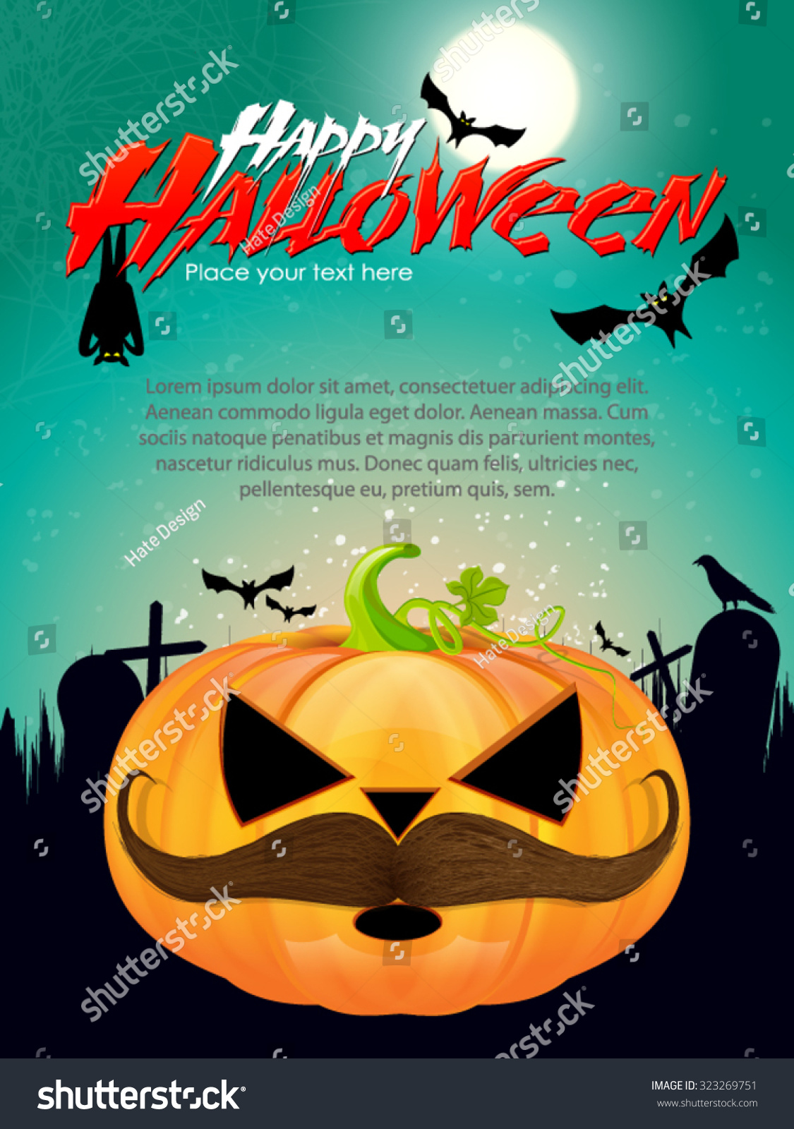 Halloween Party Invitation Card Design with Mustache Stock Vector ...