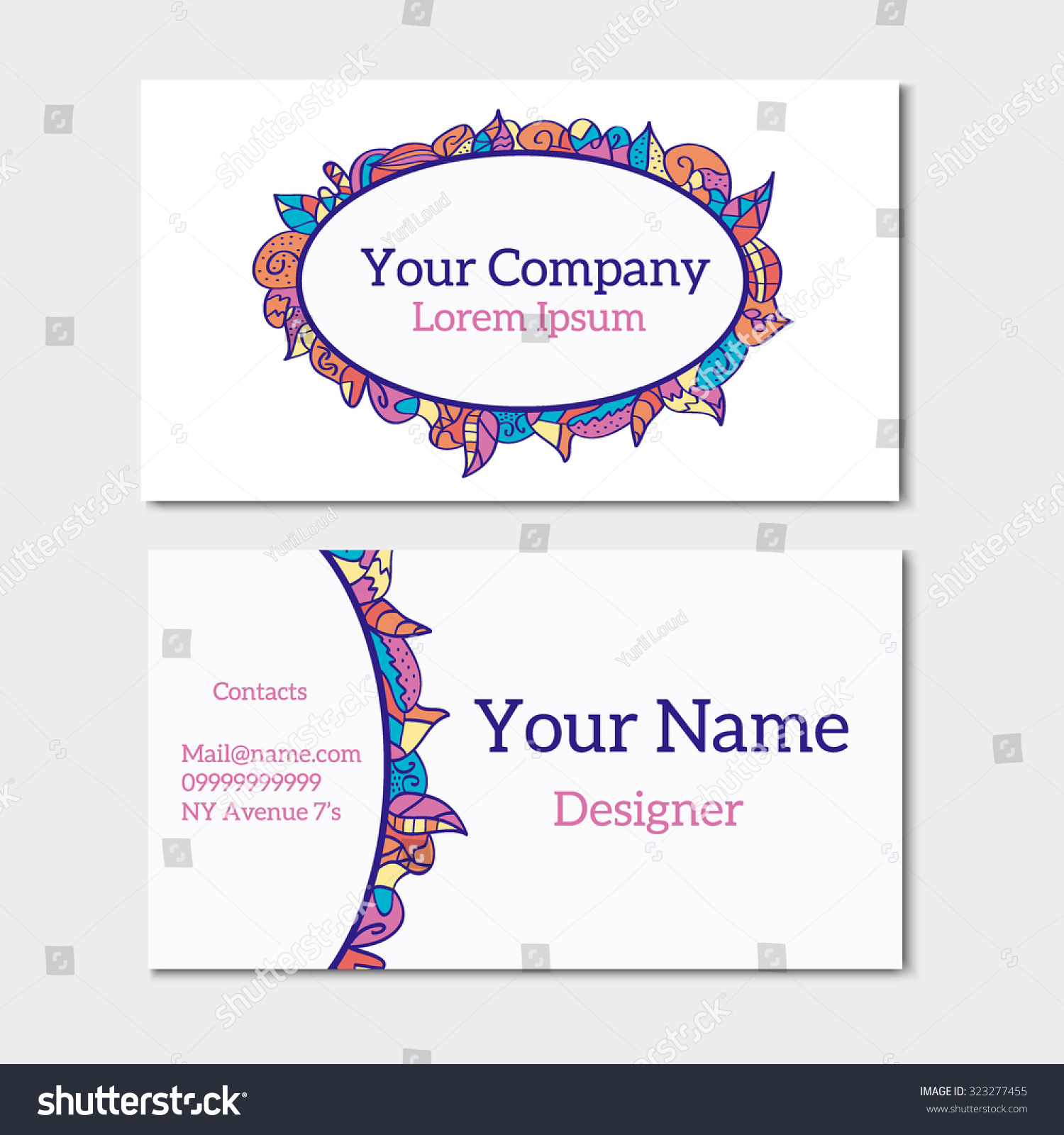 Floral Summer Business Card Back Side Stock Vector 323277455 ...