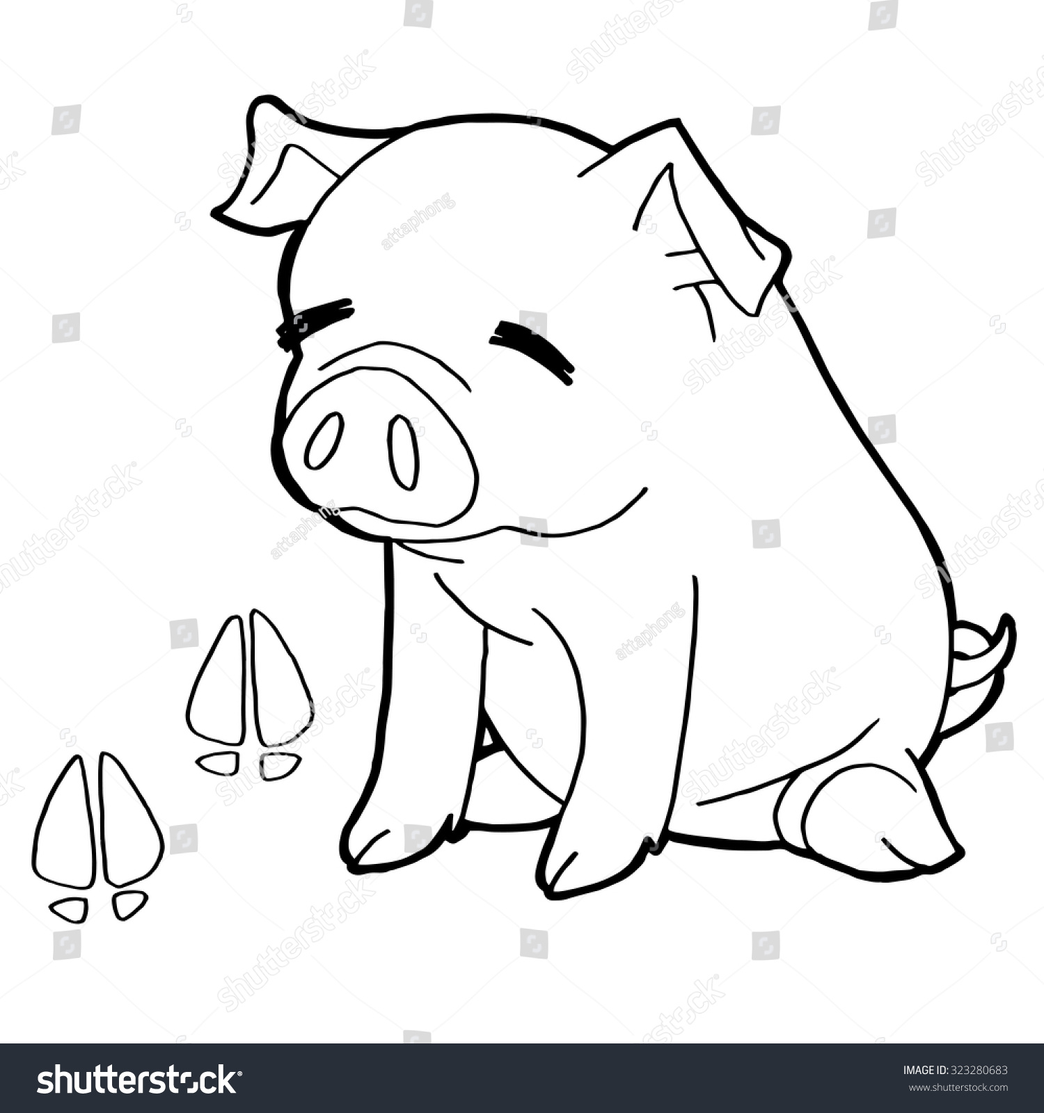 pig paw print coloring pages vector stock vector 323280683