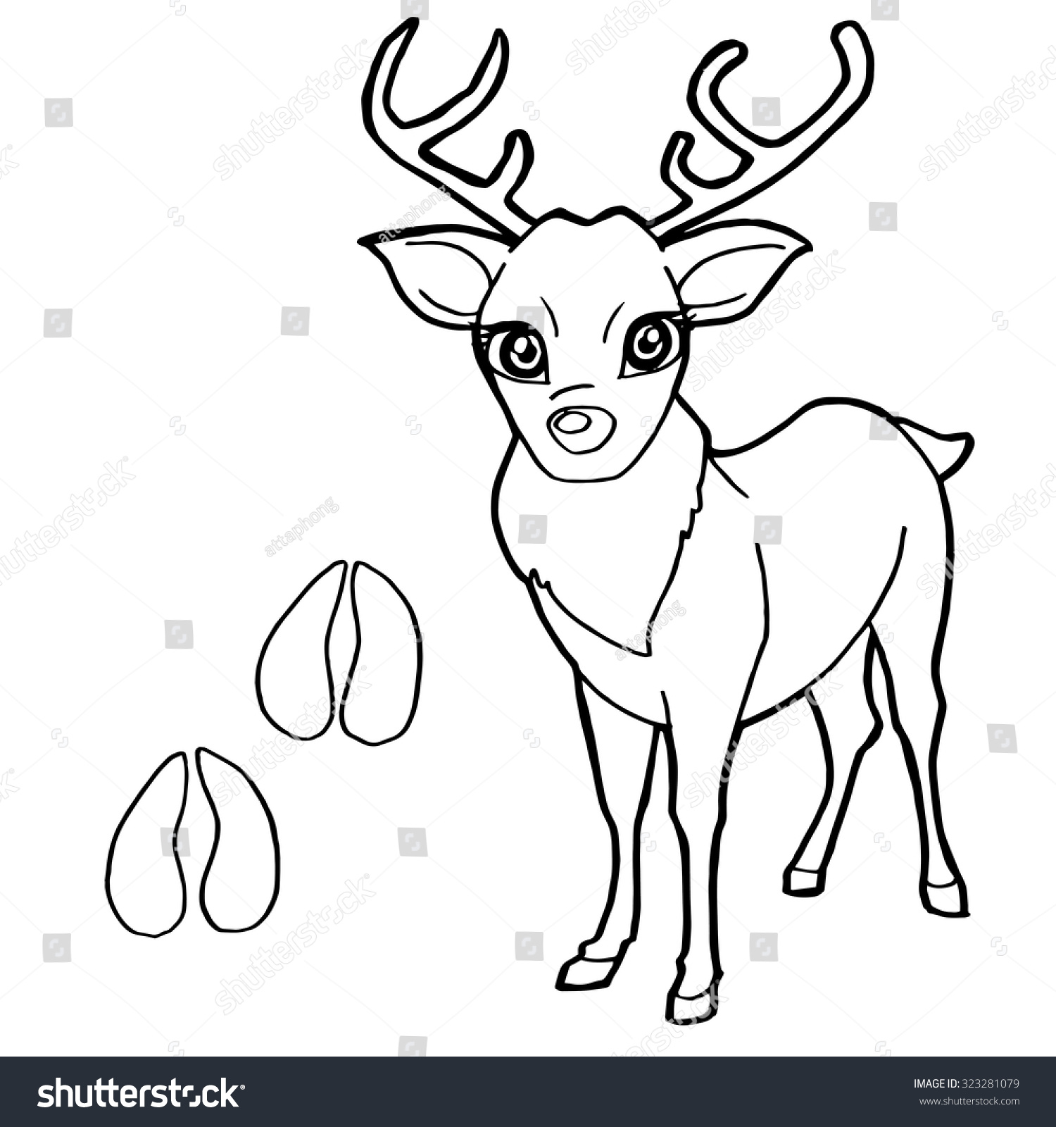 Paw Print With Deer Coloring Pages Vector Ez Canvas