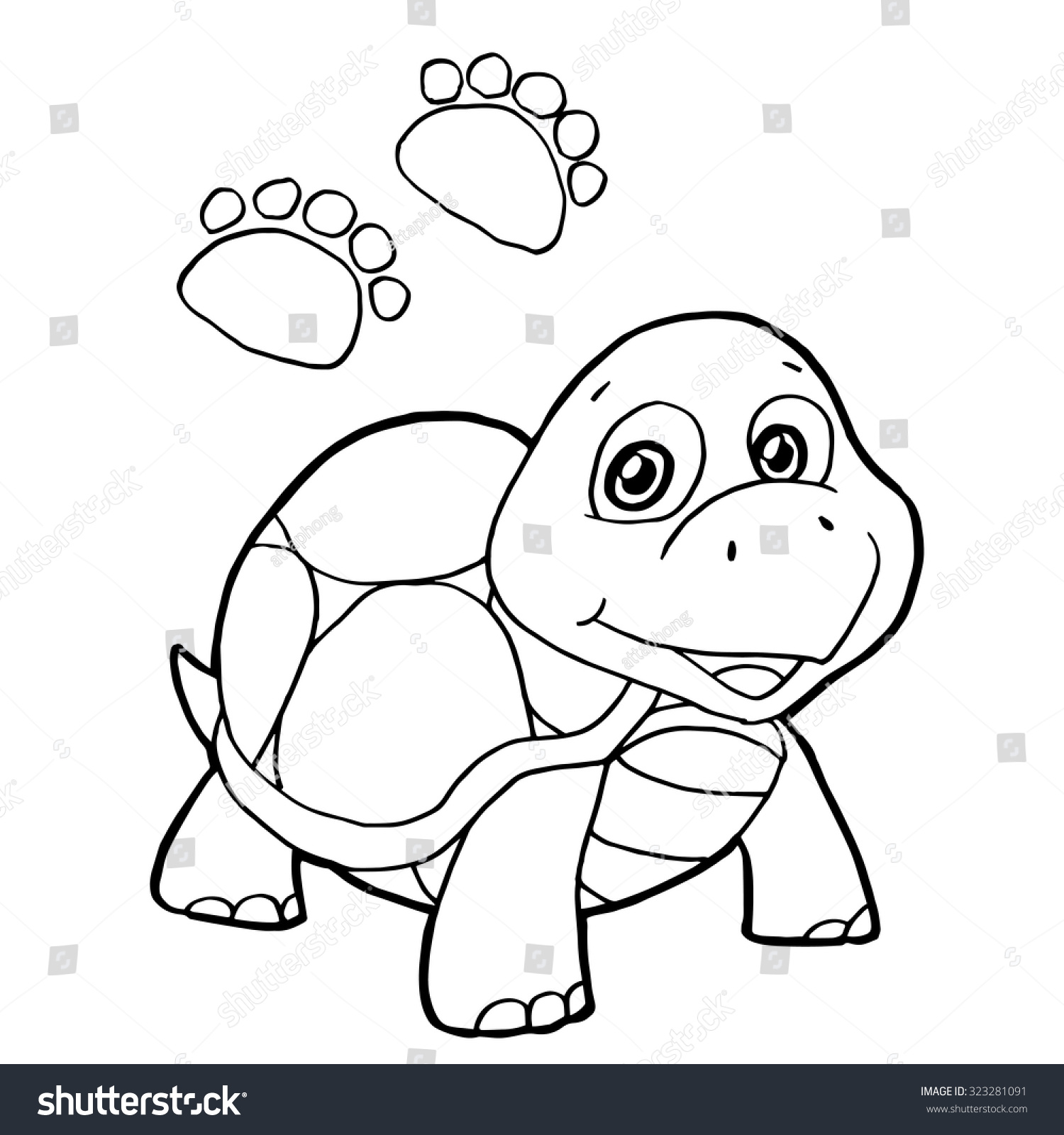 paw print turtle coloring page vector stock vector 323281091