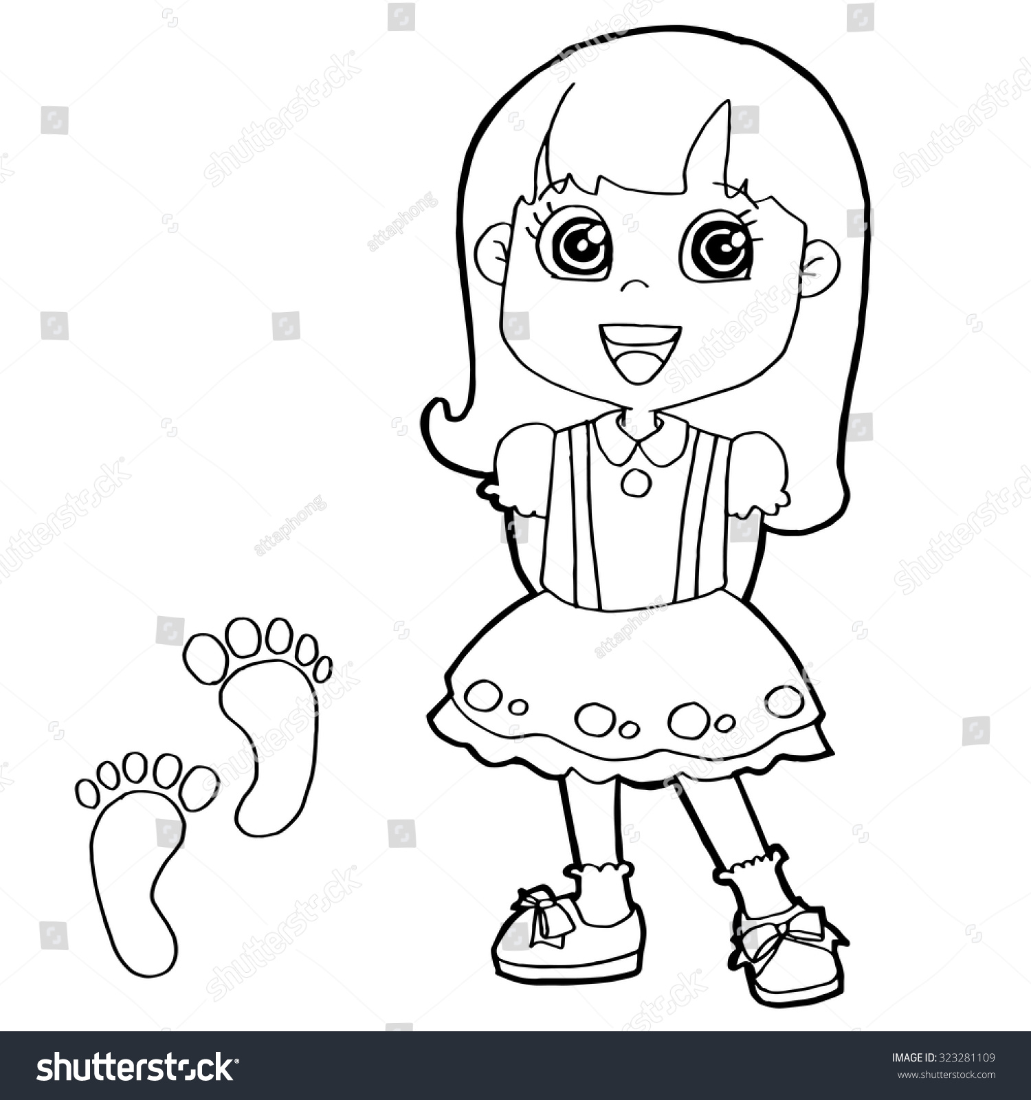 Kid Paw Print Coloring Page Vector Stock Vector 323281109 - Shutterstock