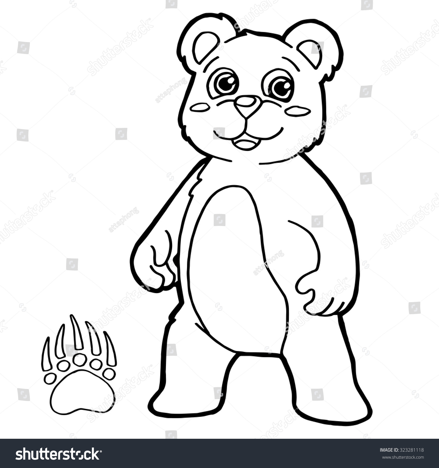 Bear Paw Print Coloring Page Vector Stock Vector HD (Royalty Free ...