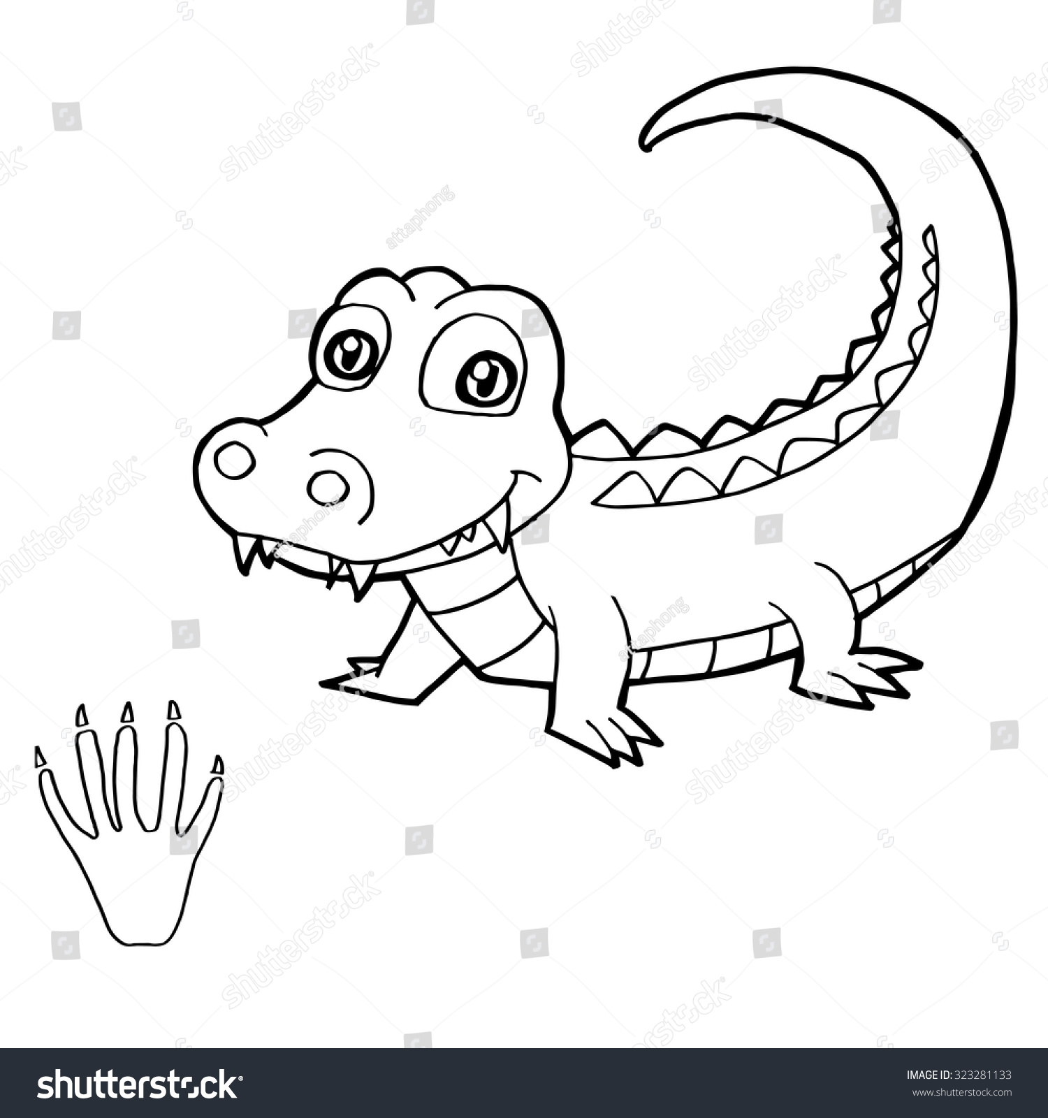 paw print crocodile coloring page vector stock vector 323281133 ... - Crocodile Coloring Pages Print