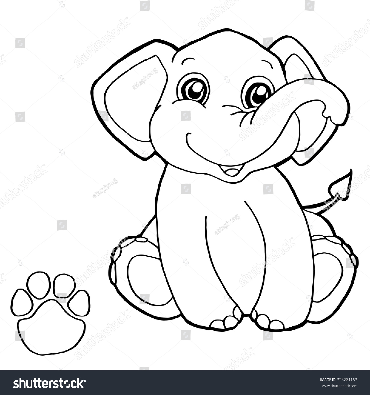 paw print elephant coloring page vector stock vector 323281163