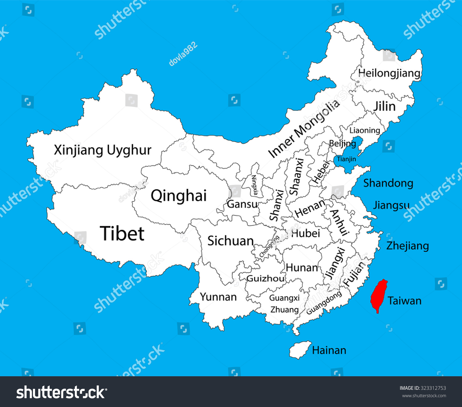 Taiwan province map china vector map stock vector 323312753 taiwan province map china vector map illustration isolated on background editable china map gumiabroncs Choice Image