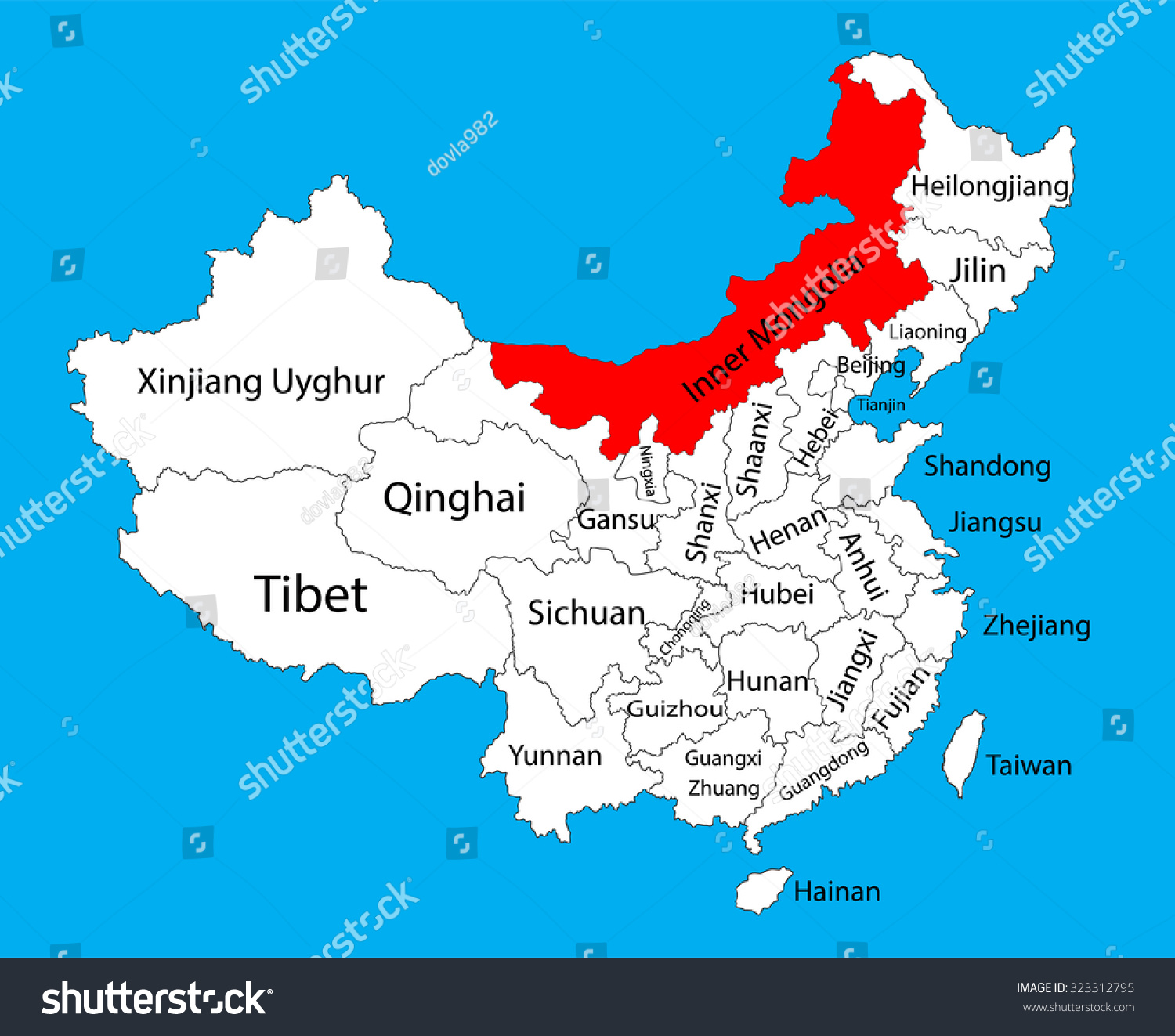 Inner mongolia province map china vector stock vector 323312795 inner mongolia province map china vector map illustration isolated on background editable china map gumiabroncs Gallery
