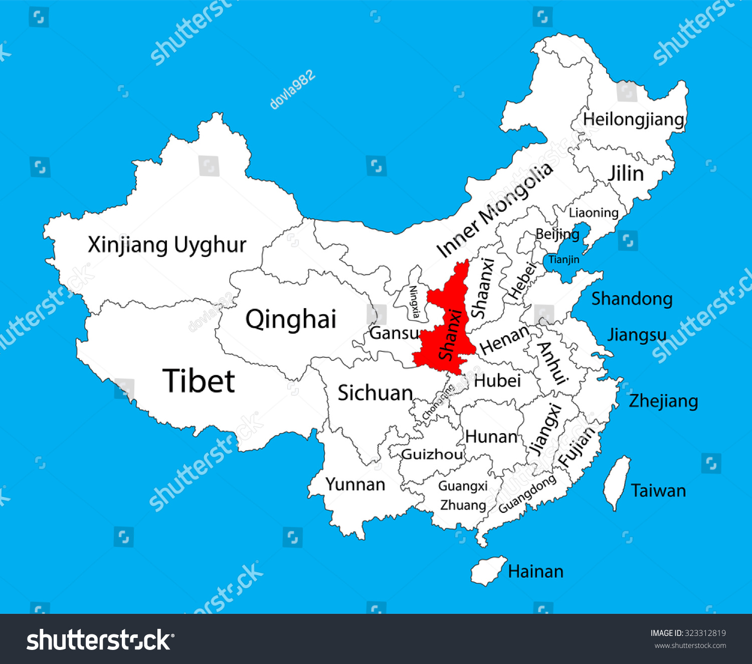 Shaanxi province map china vector map vector de stock323312819 shaanxi province map china vector map illustration isolated on background editable china map vector gumiabroncs Images