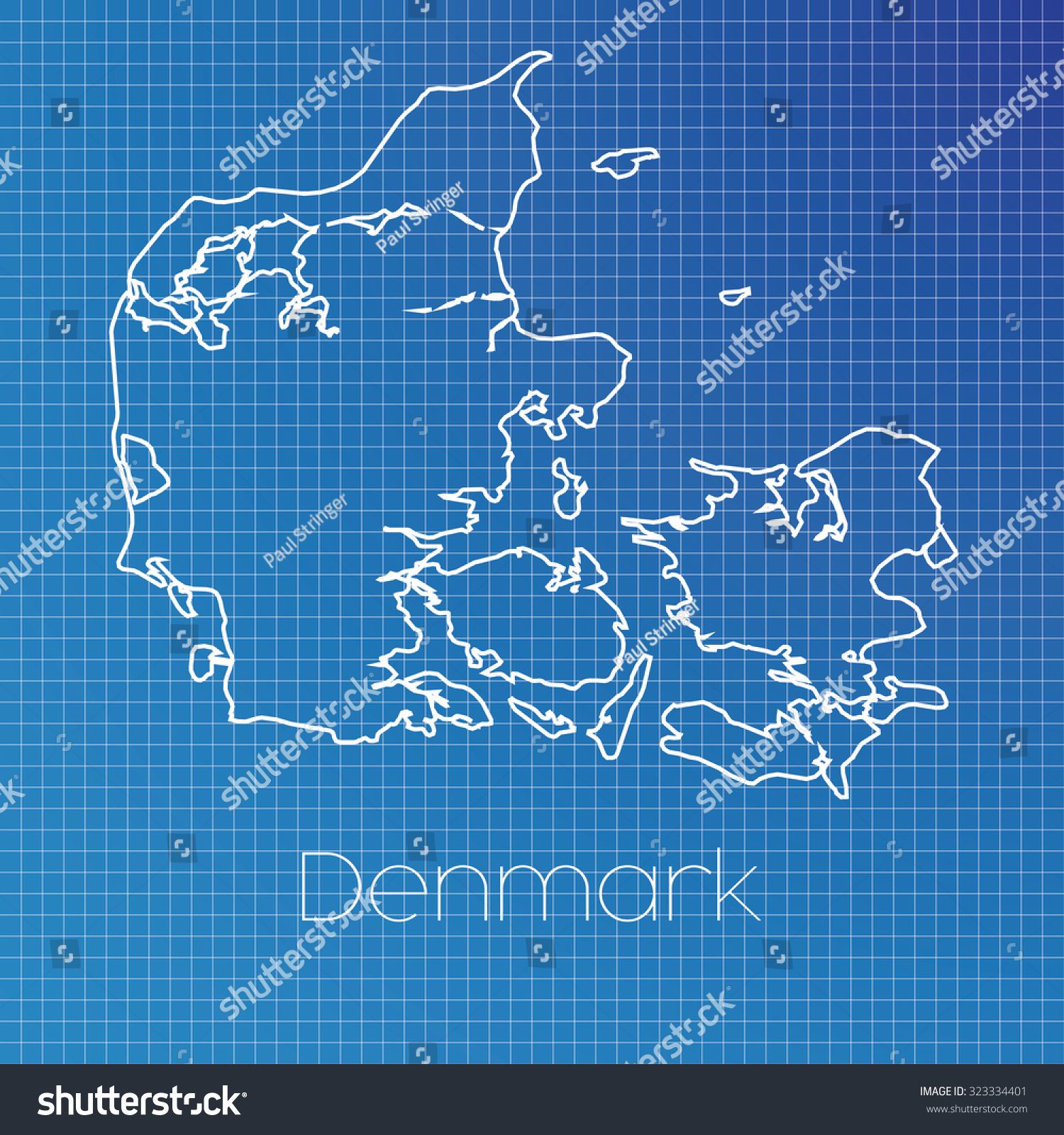 Schematic Outline Country Denmark Stock Illustration 323334401 ...