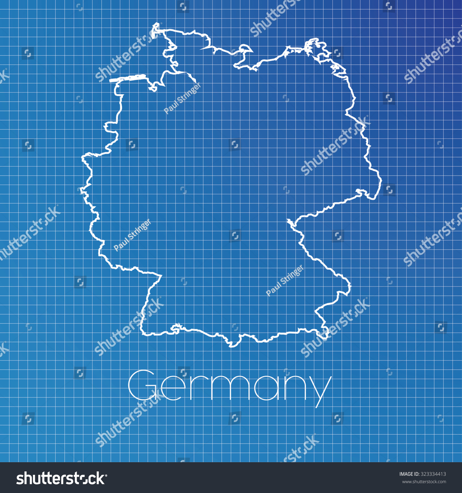 Schematic Outline Country Germany Stock Illustration 323334413 ...