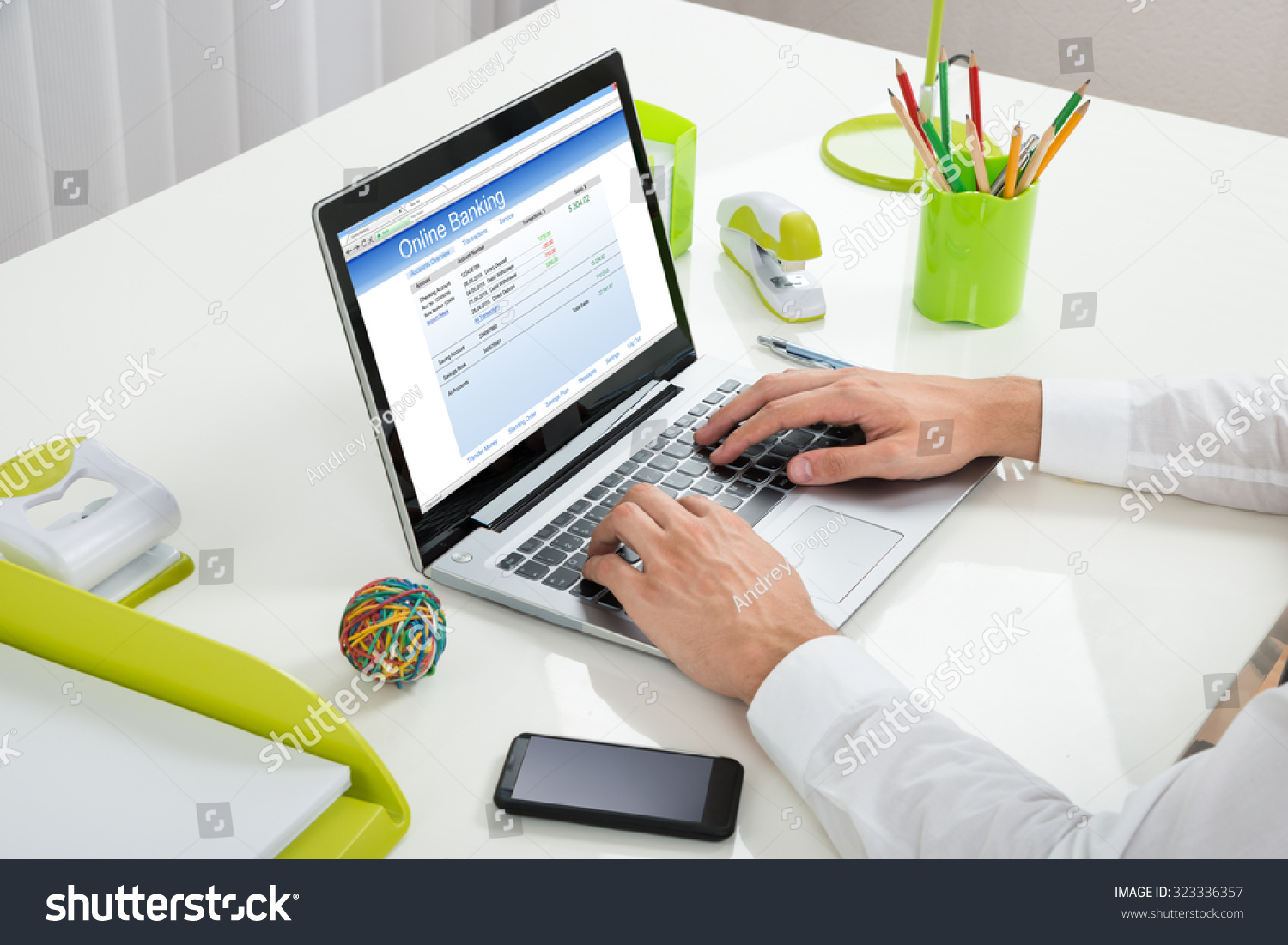 closeup businessperson online banking laptop office stock photo 323336357 shutterstock. Black Bedroom Furniture Sets. Home Design Ideas