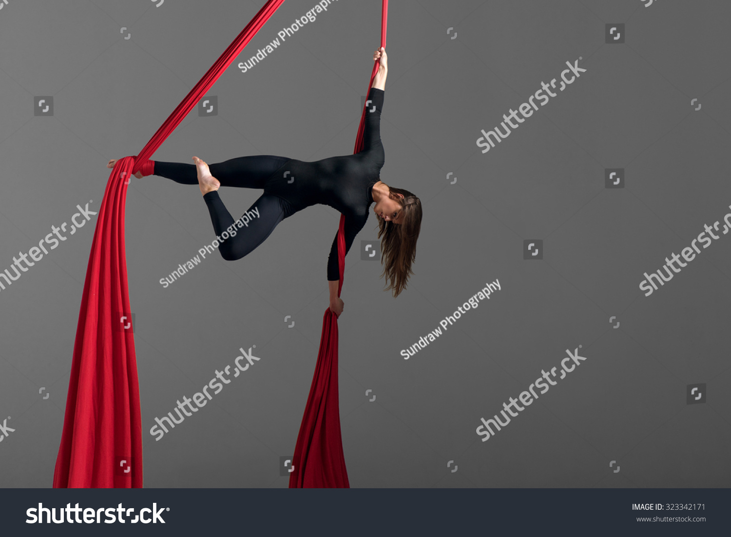 Sporty Woman Doing Exercise Elastics Aerial Stock Photo (100% Legal ...