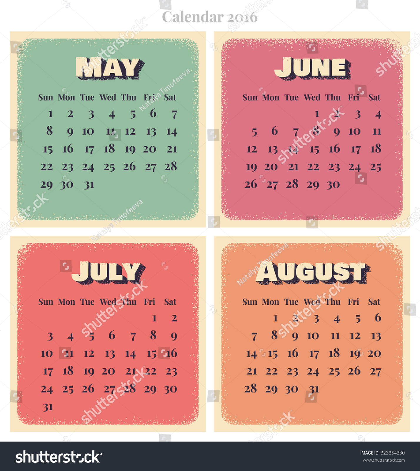 Calendar May June July August : Retro vector calendar week starts sunday may june