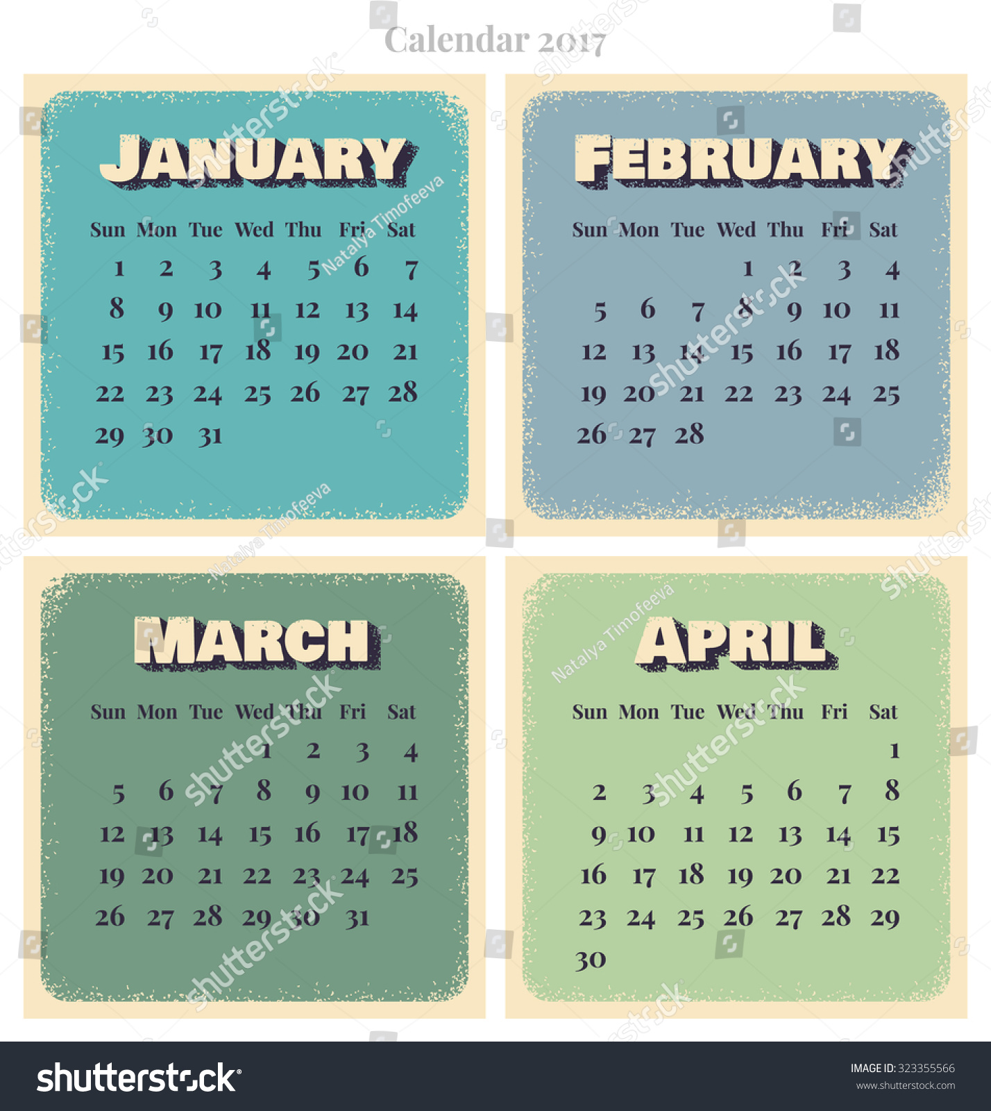 Calendar January April : Retro vector calendar week starts sunday january