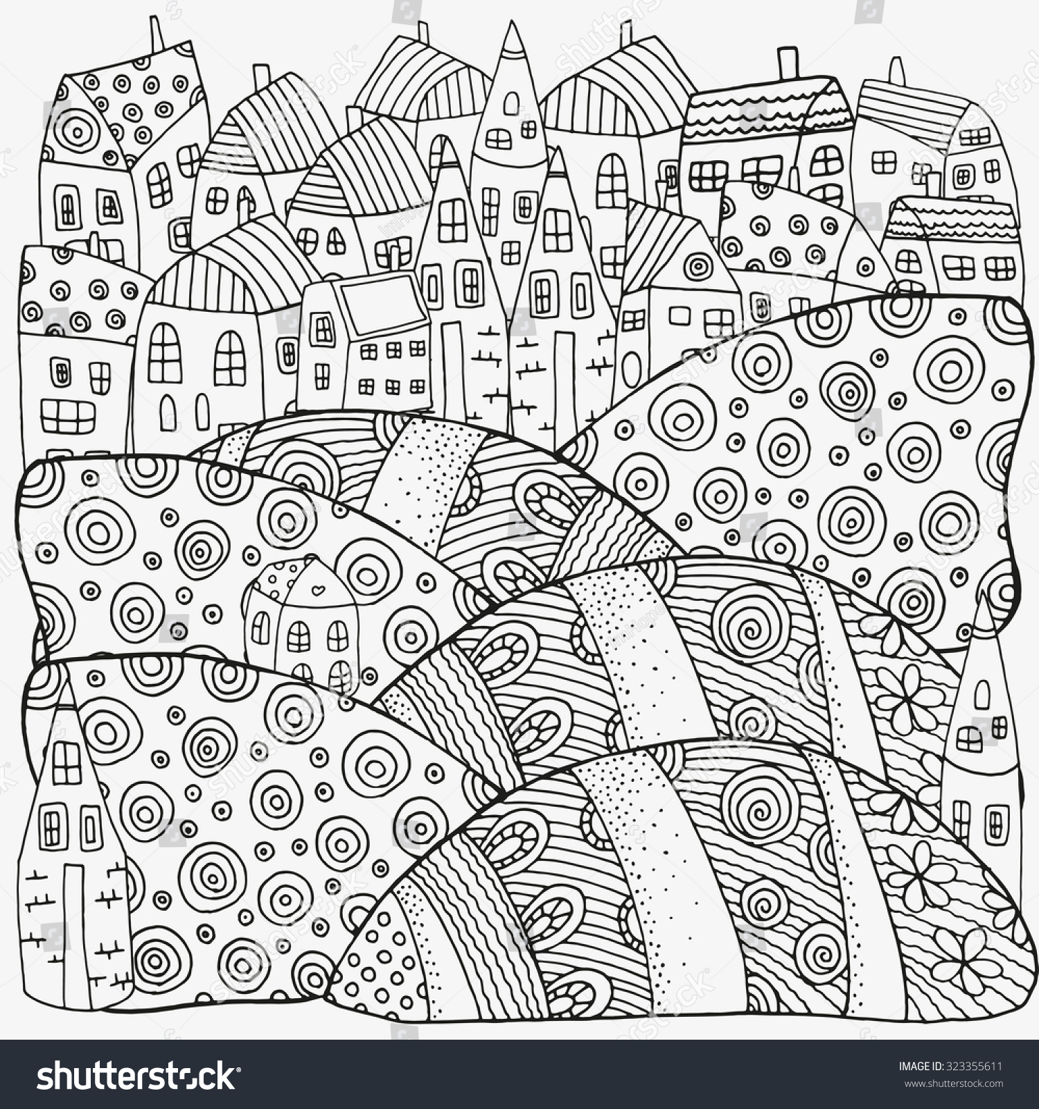 Pattern Coloring Book Artistically Houses Magic Stock Vector